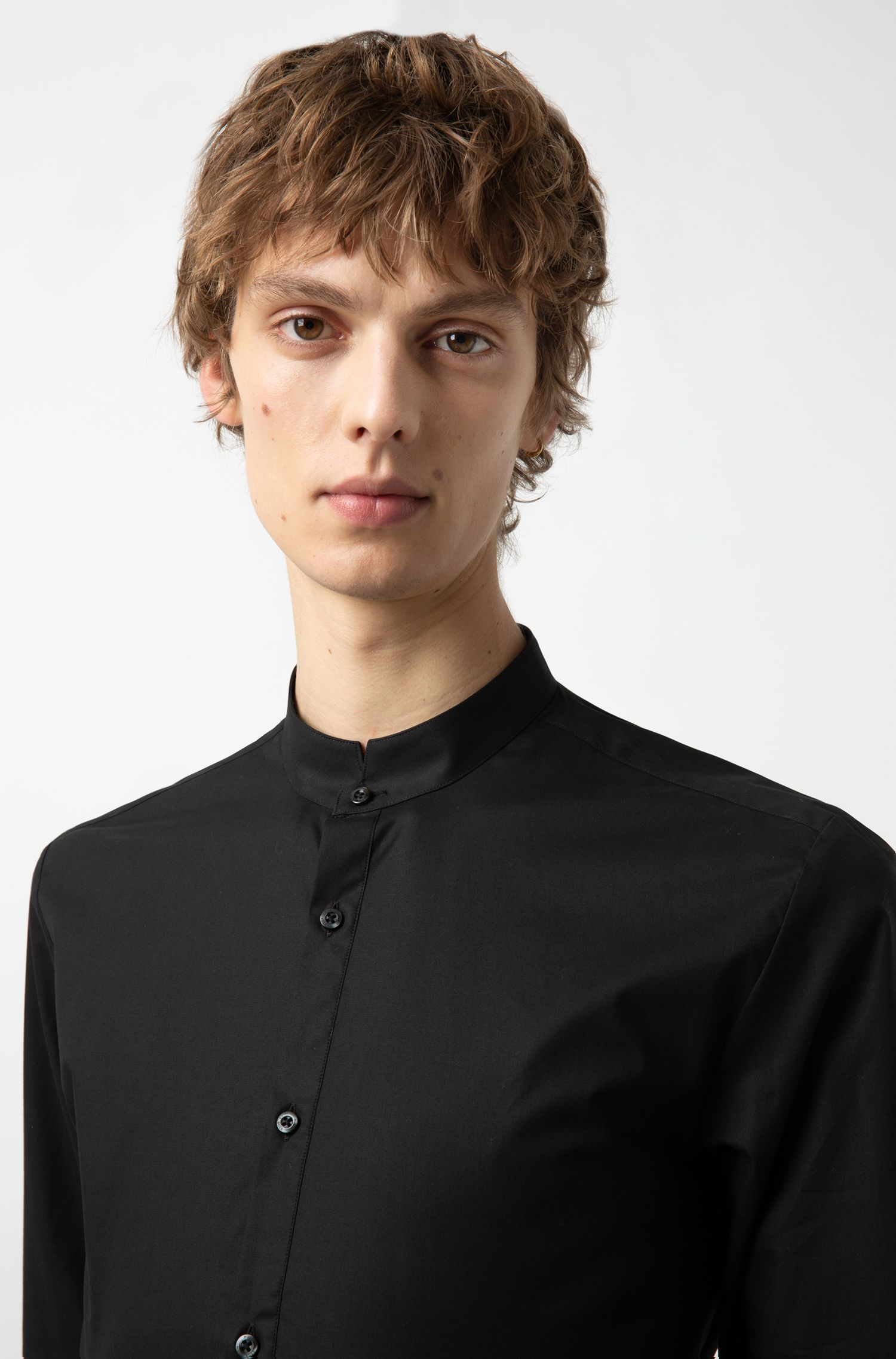 Extra-slim-fit shirt in stretch cotton with stand collar, Black