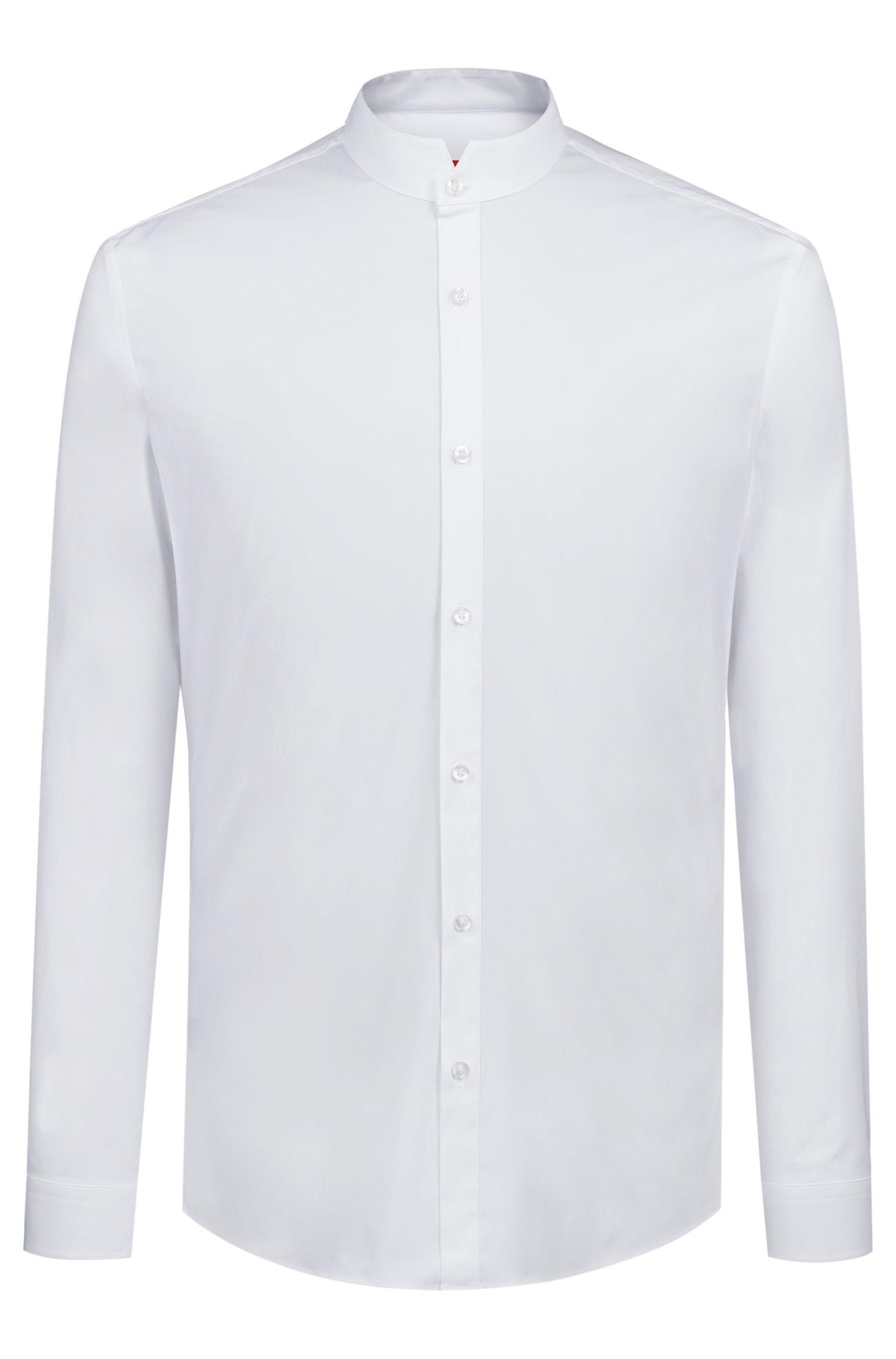 Camicia extra slim fit in cotone elasticizzato con colletto rialzato, Bianco