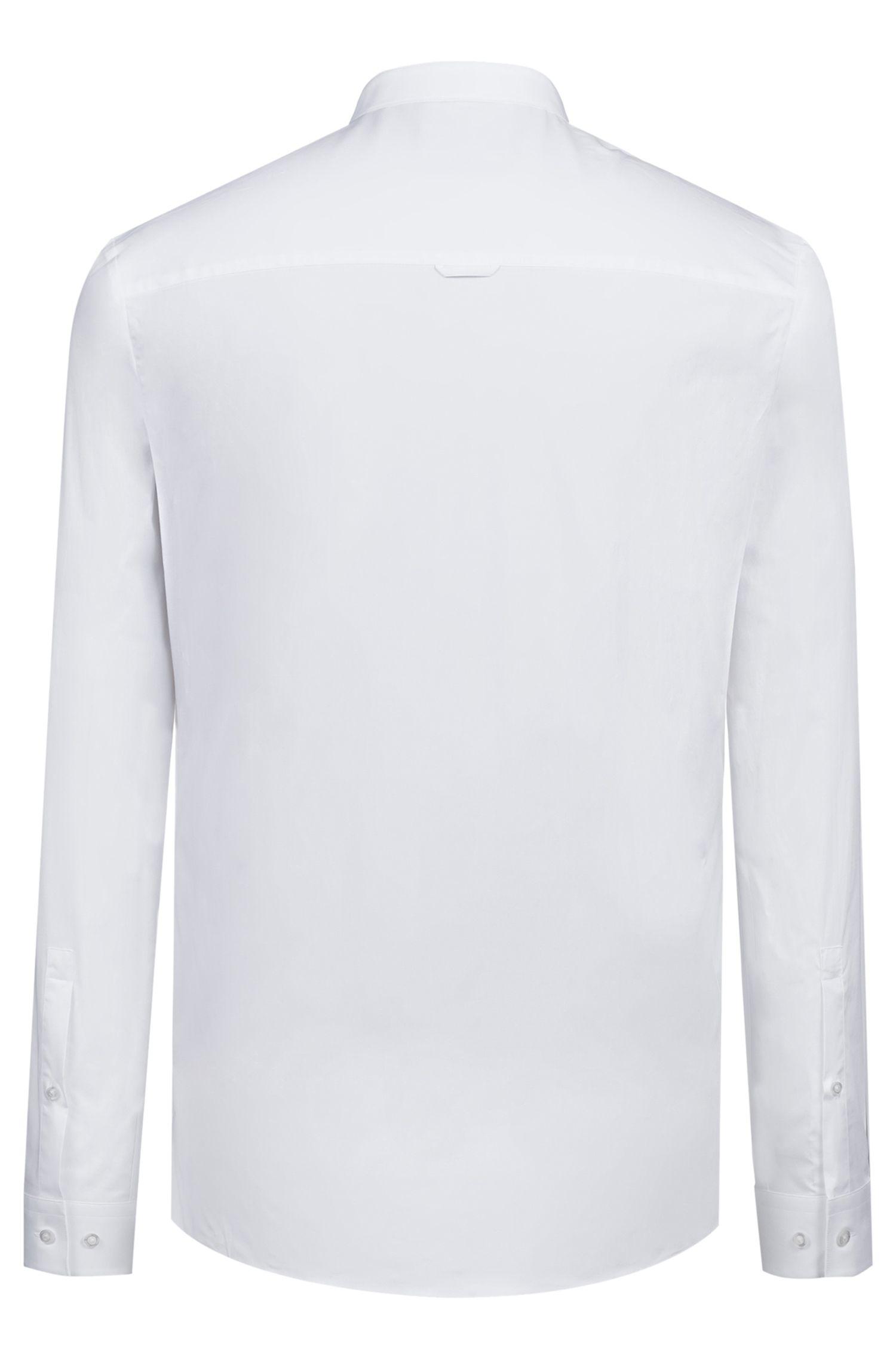 Camisa extra slim fit de algodón elástico con cuello mao, Blanco