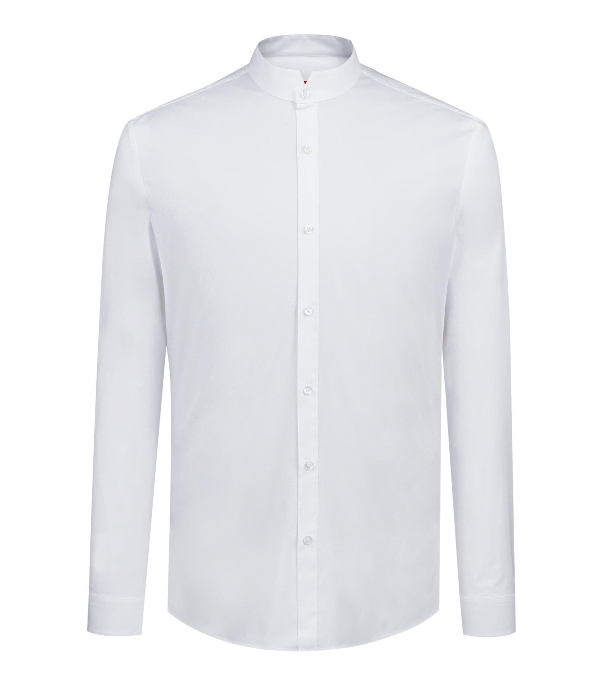 Chemise Extra Slim Fit à col montant en coton stretch, Blanc