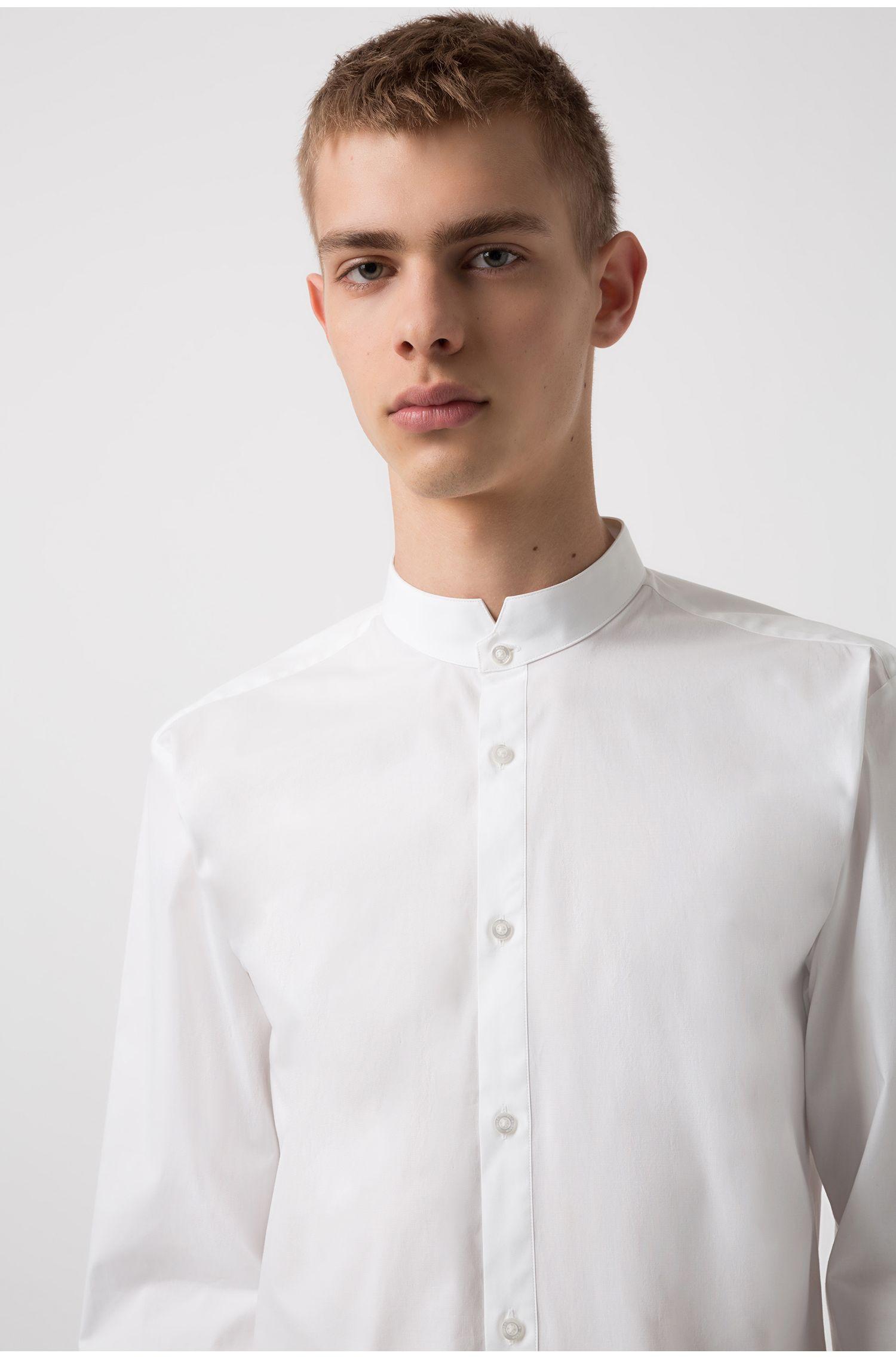 Extra slim-fit overhemd van stretchkatoen met opstaande kraag, Wit