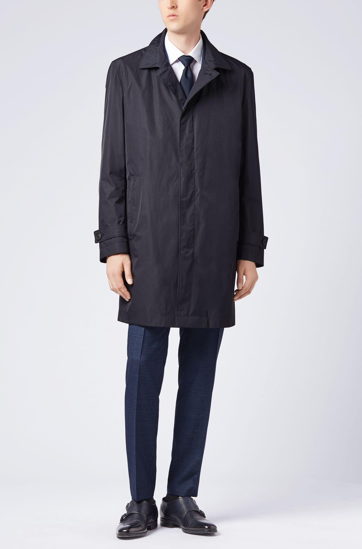 Cappotto corto ripiegabile in tessuto idrorepellente, Blu scuro