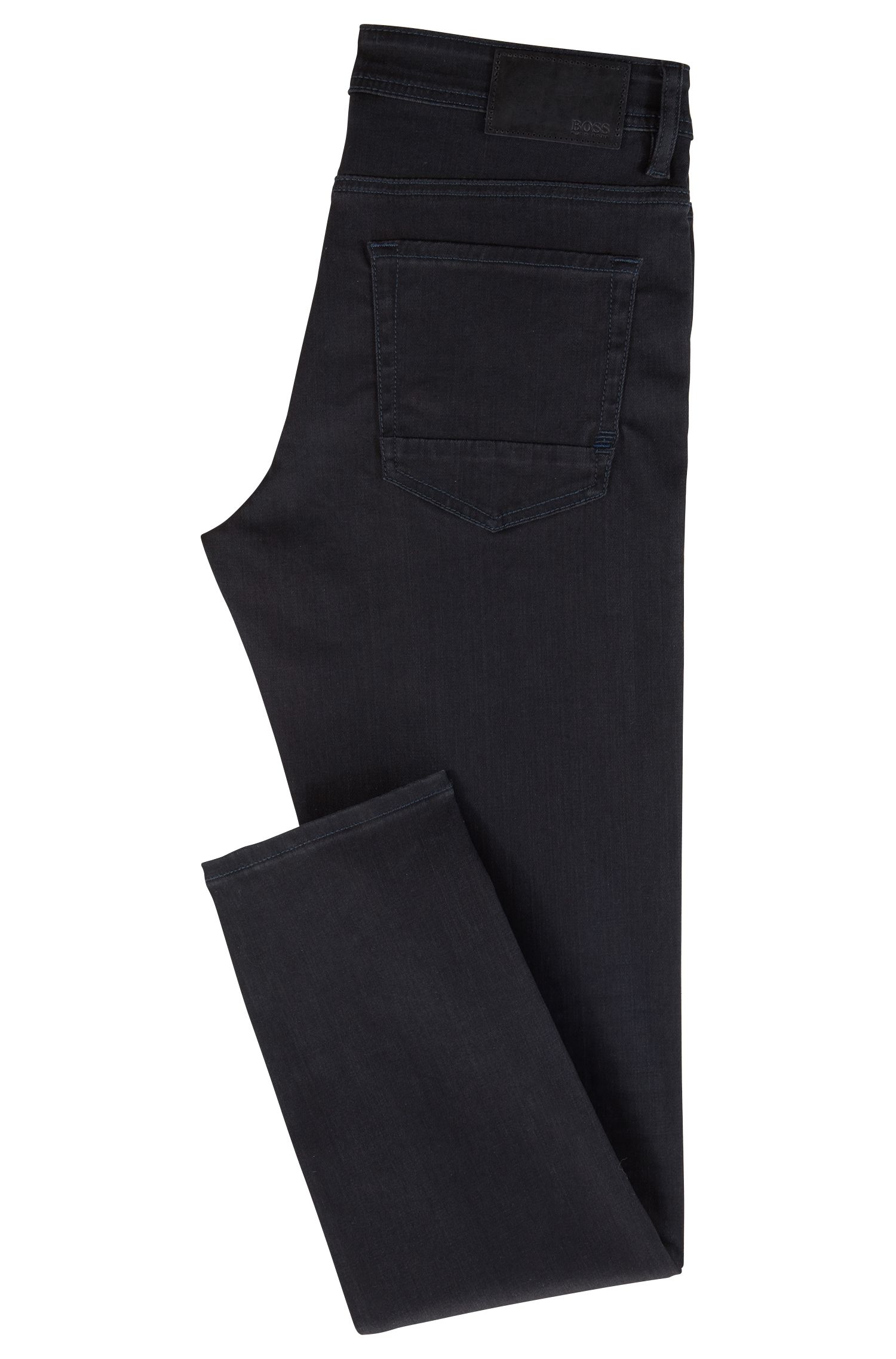 Tweekleurige tapered-fit jeans van super-stretchdenim, Donkerblauw