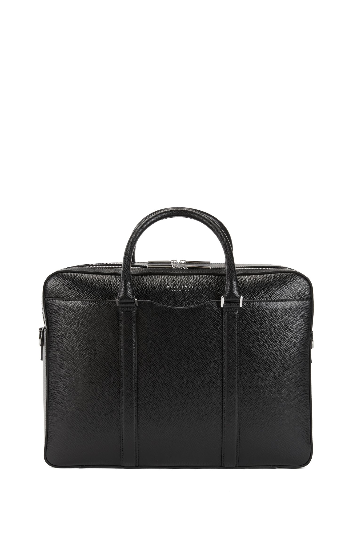 Signature Collection double document case in printed palmellato leather, Black