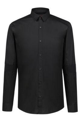 Camicia extra slim fit in cotone elasticizzato con lavorazione a coste sui gomiti, Nero