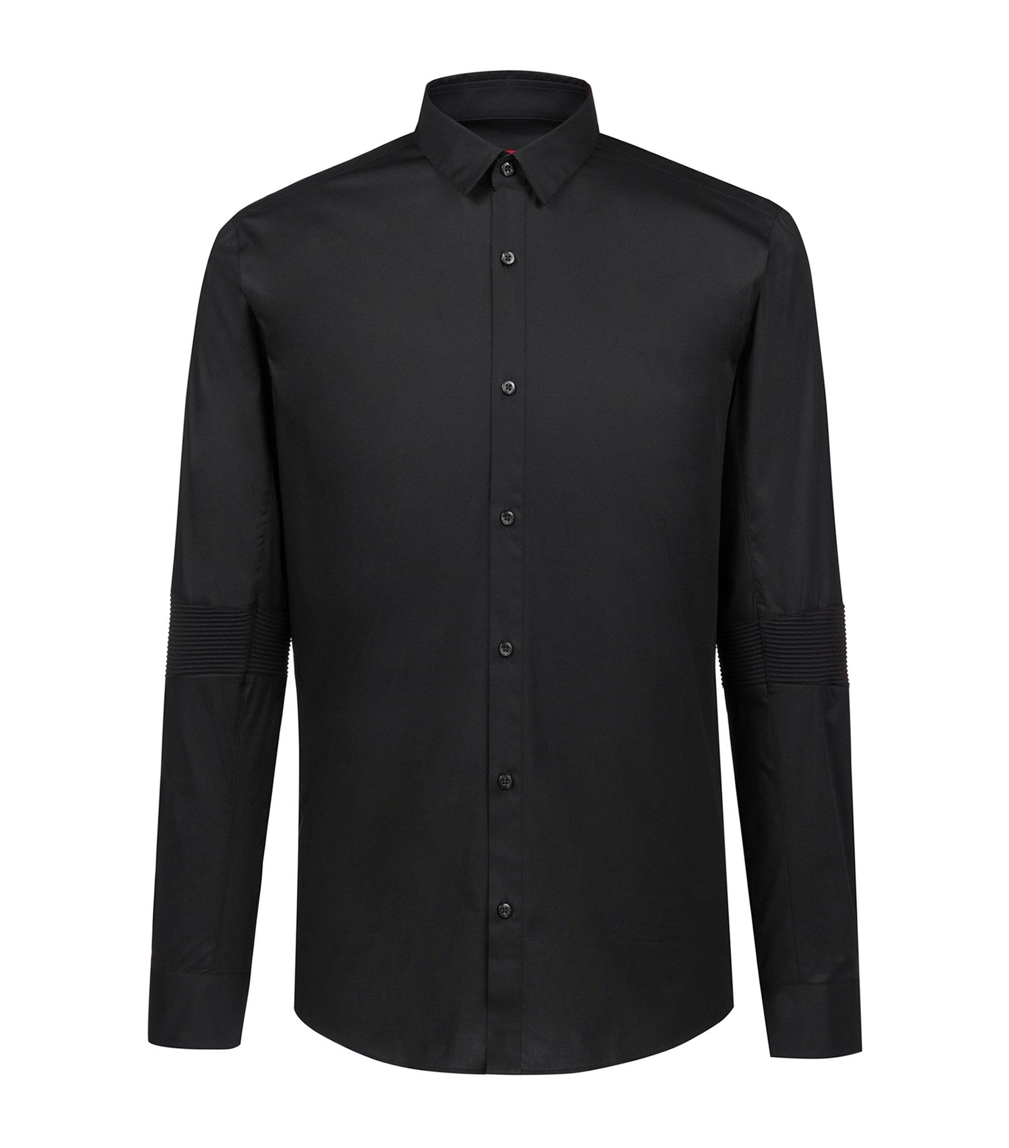 Chemise Extra Slim Fit en coton stretch avec coudes côtelés, Noir