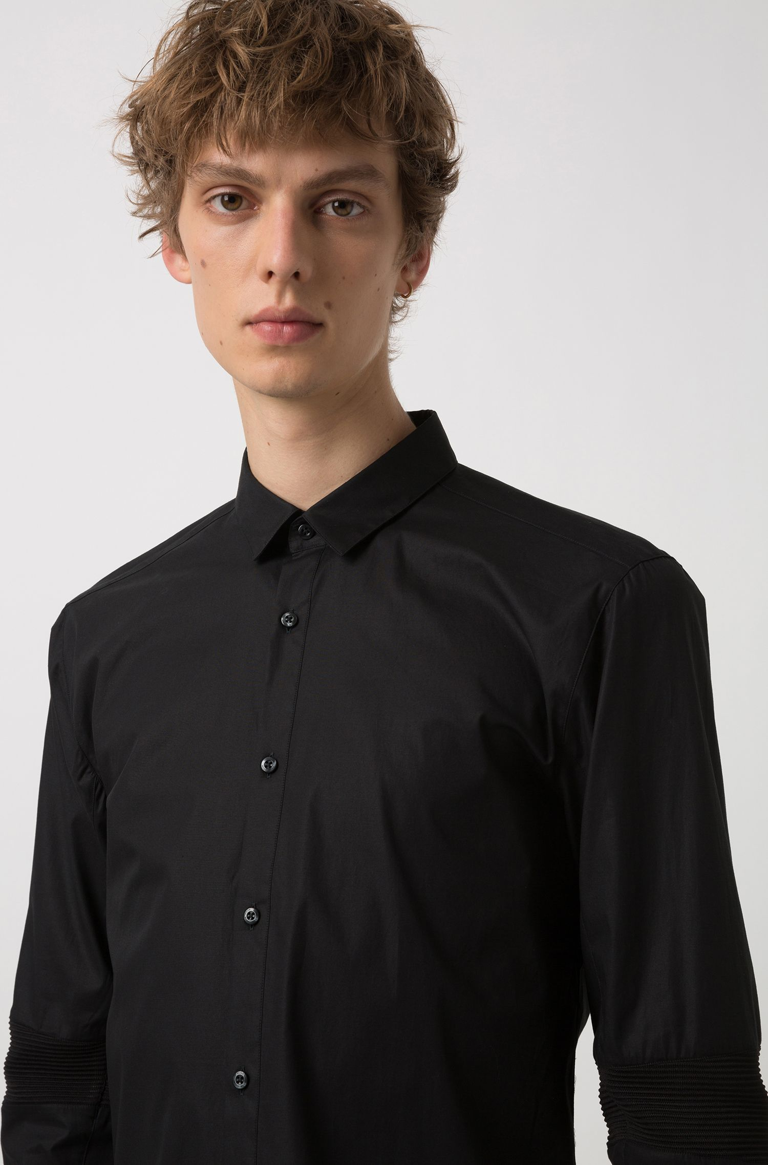 Extra-slim-fit stretch-cotton shirt with ribbed elbows, Black
