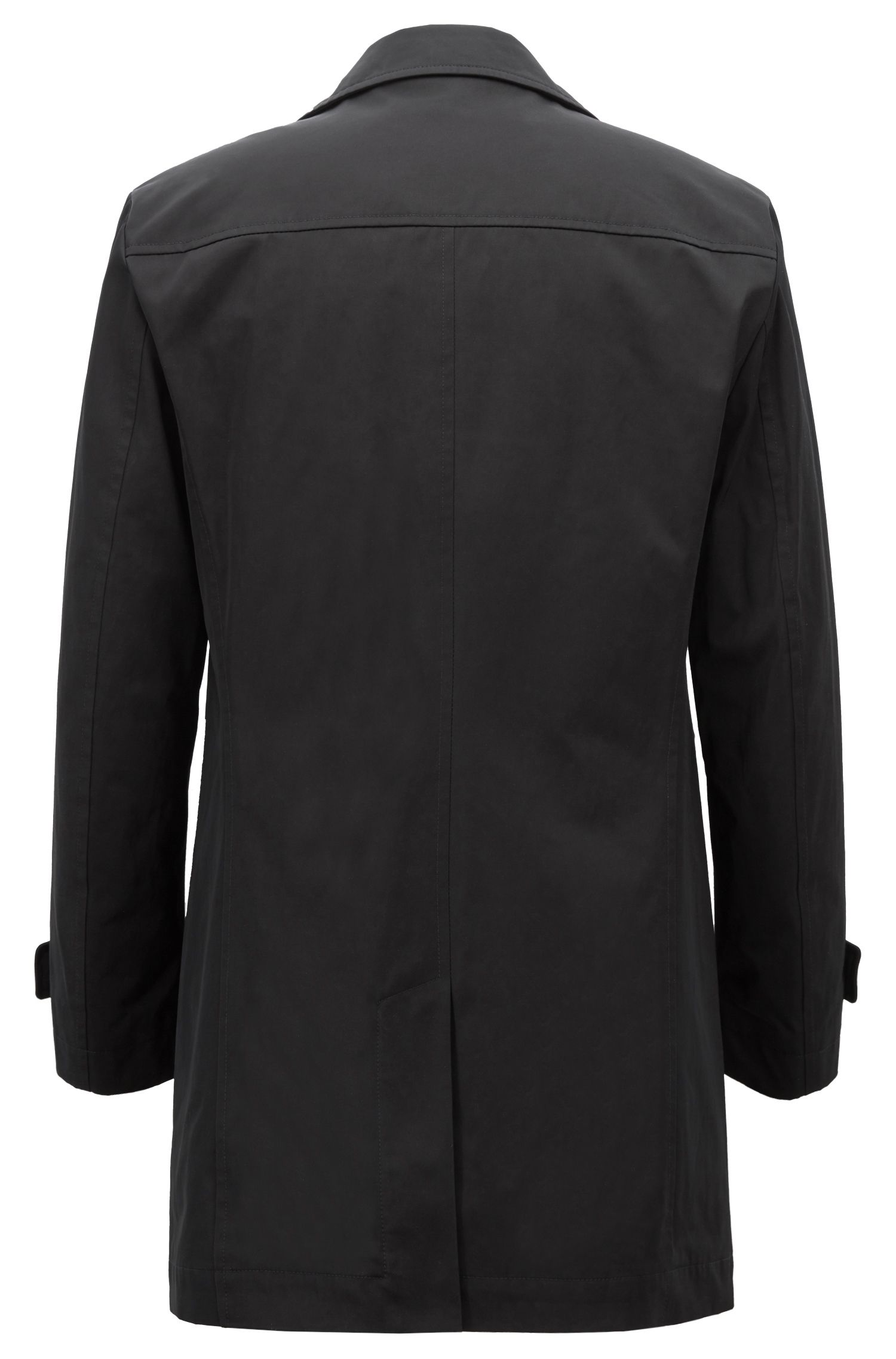 Cappotto corto idrorepellente in twill tecnico, Nero