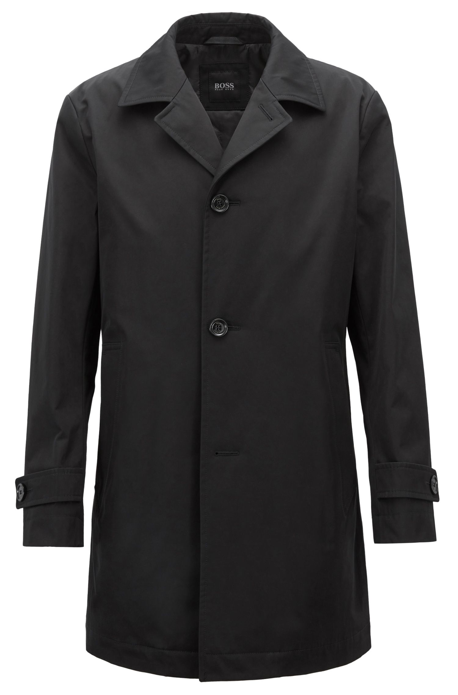 Car coat in water-repellent technical twill, Black