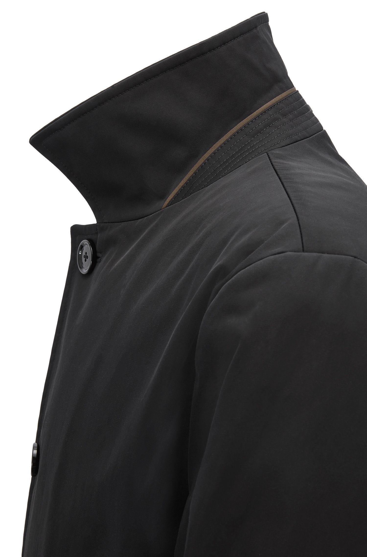 Regular-Fit Kurzmantel aus wasserabweisendem Twill, Schwarz