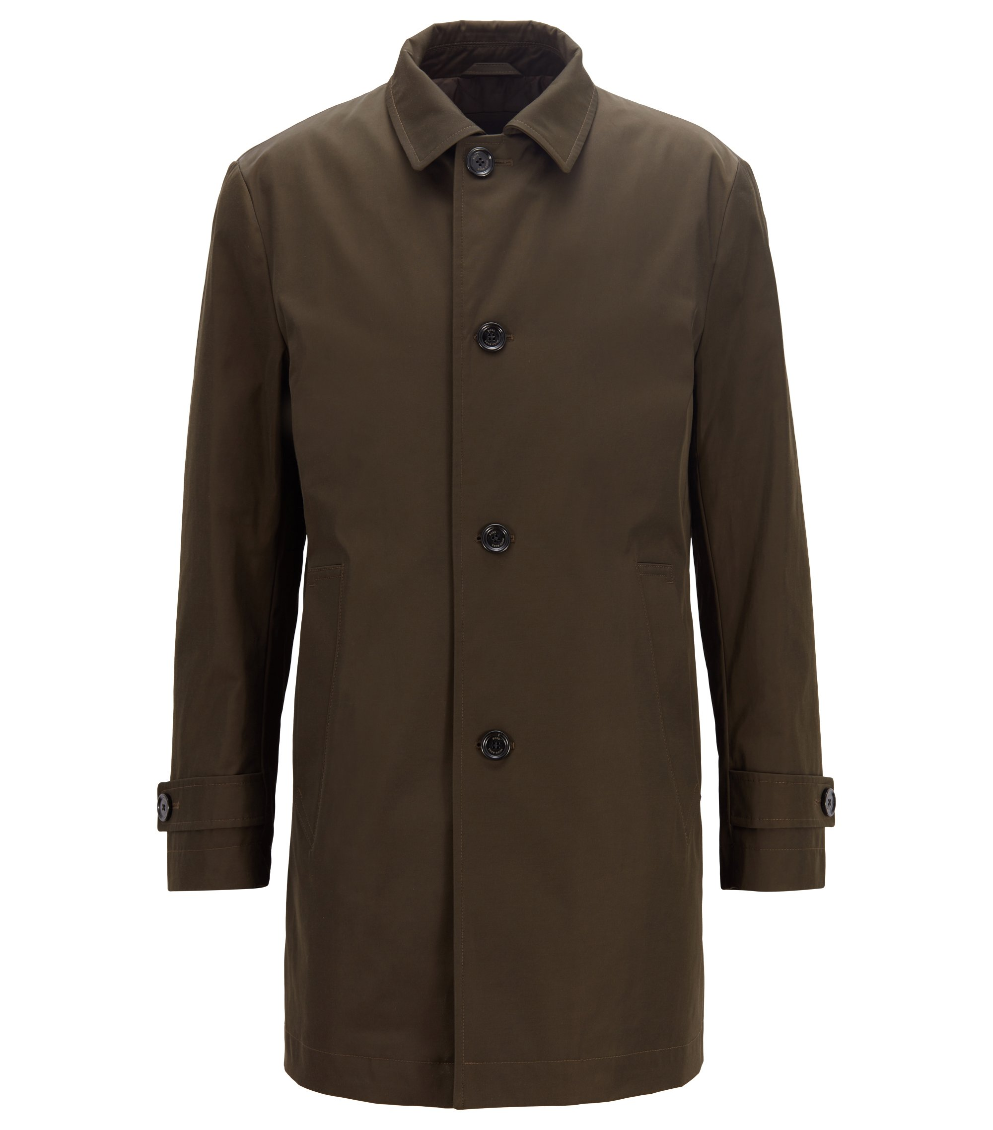 Car coat in water-repellent technical twill, Khaki
