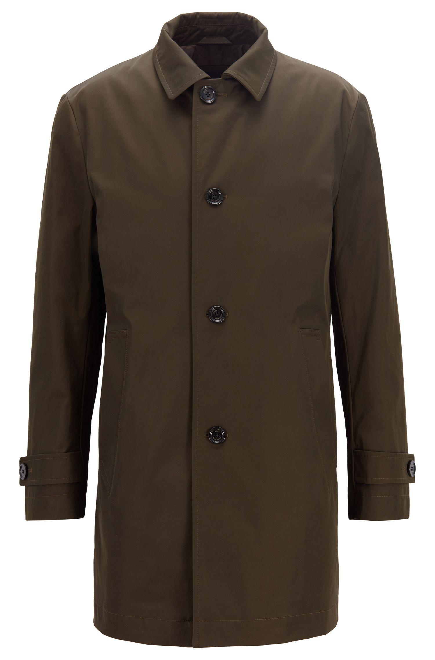 Cappotto corto idrorepellente in twill tecnico, Kaki