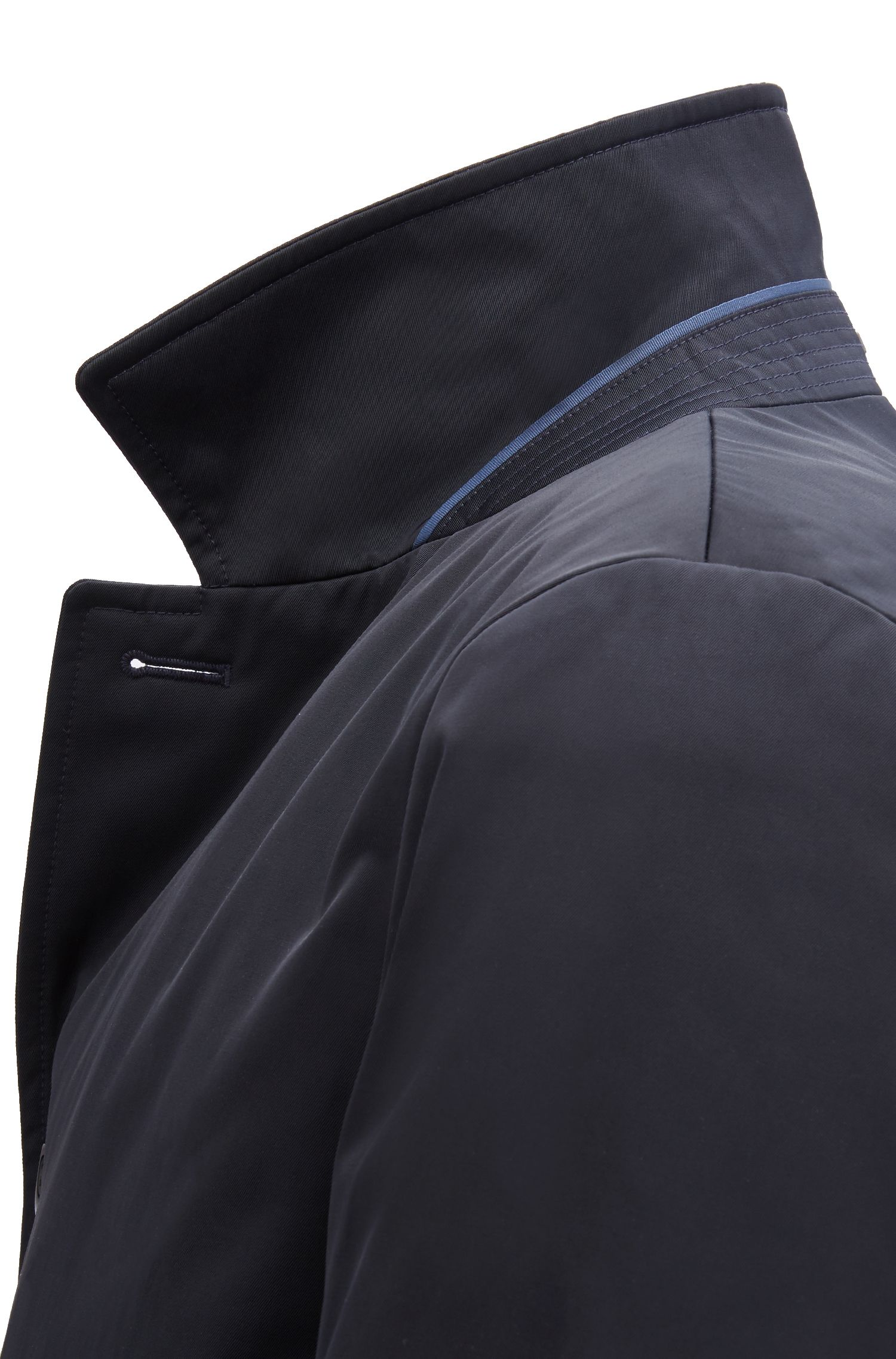 Cappotto corto idrorepellente in twill tecnico, Blue Scuro