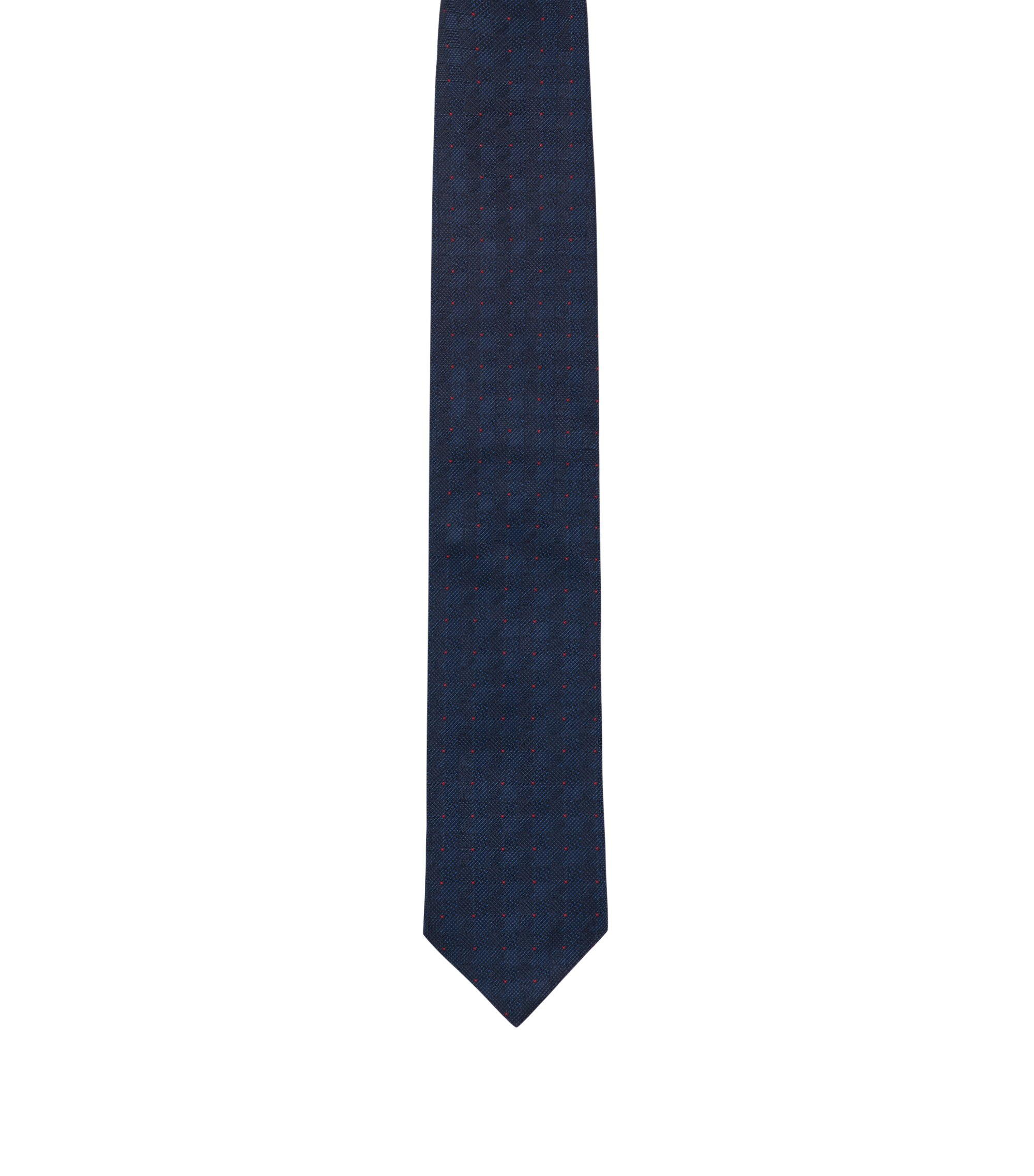 Silk tie with plain-check jacquard, Dark Blue