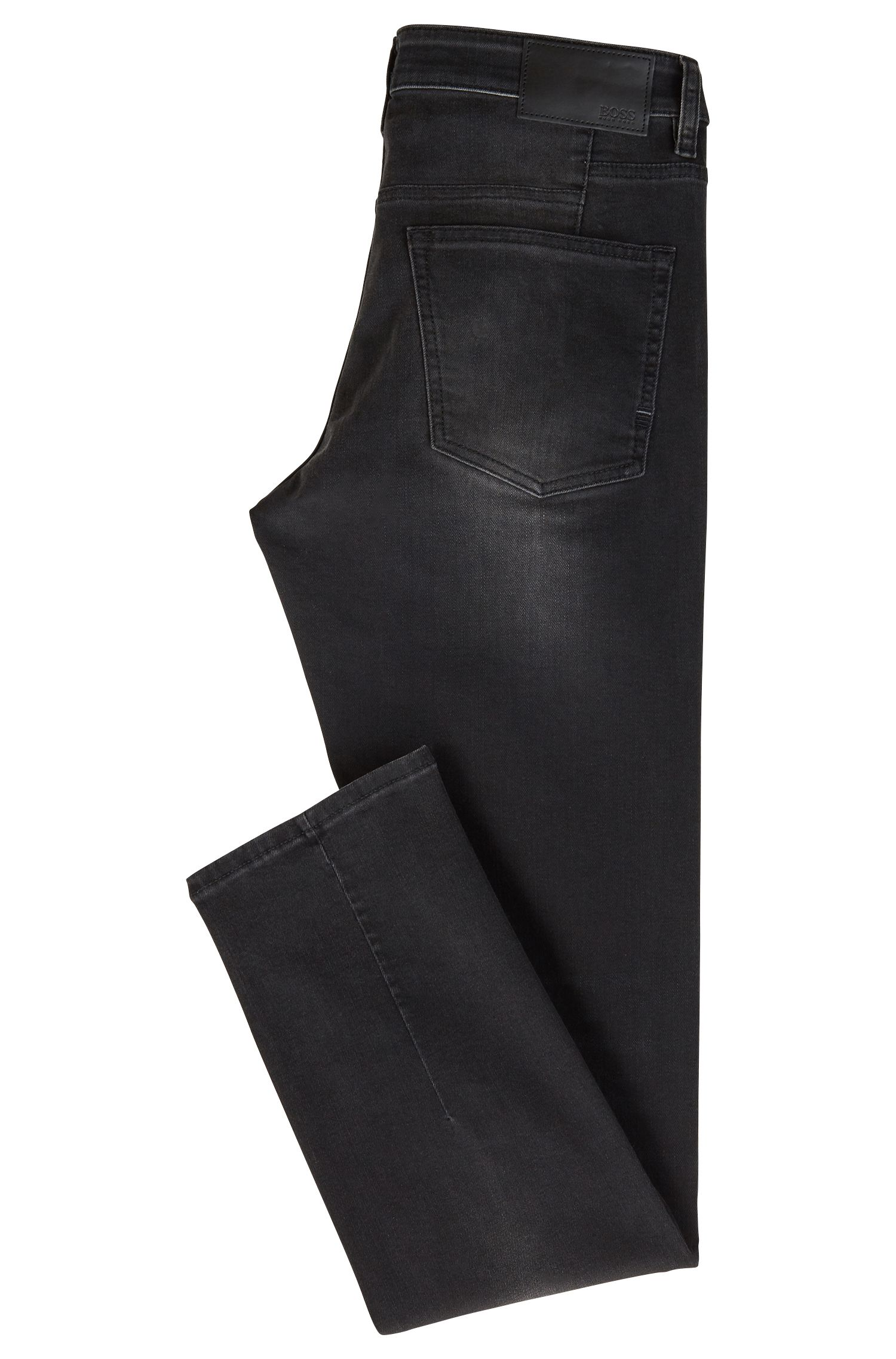 Slim-Fit Stone-washed Jeans aus Super-Stretch-Denim, Schwarz