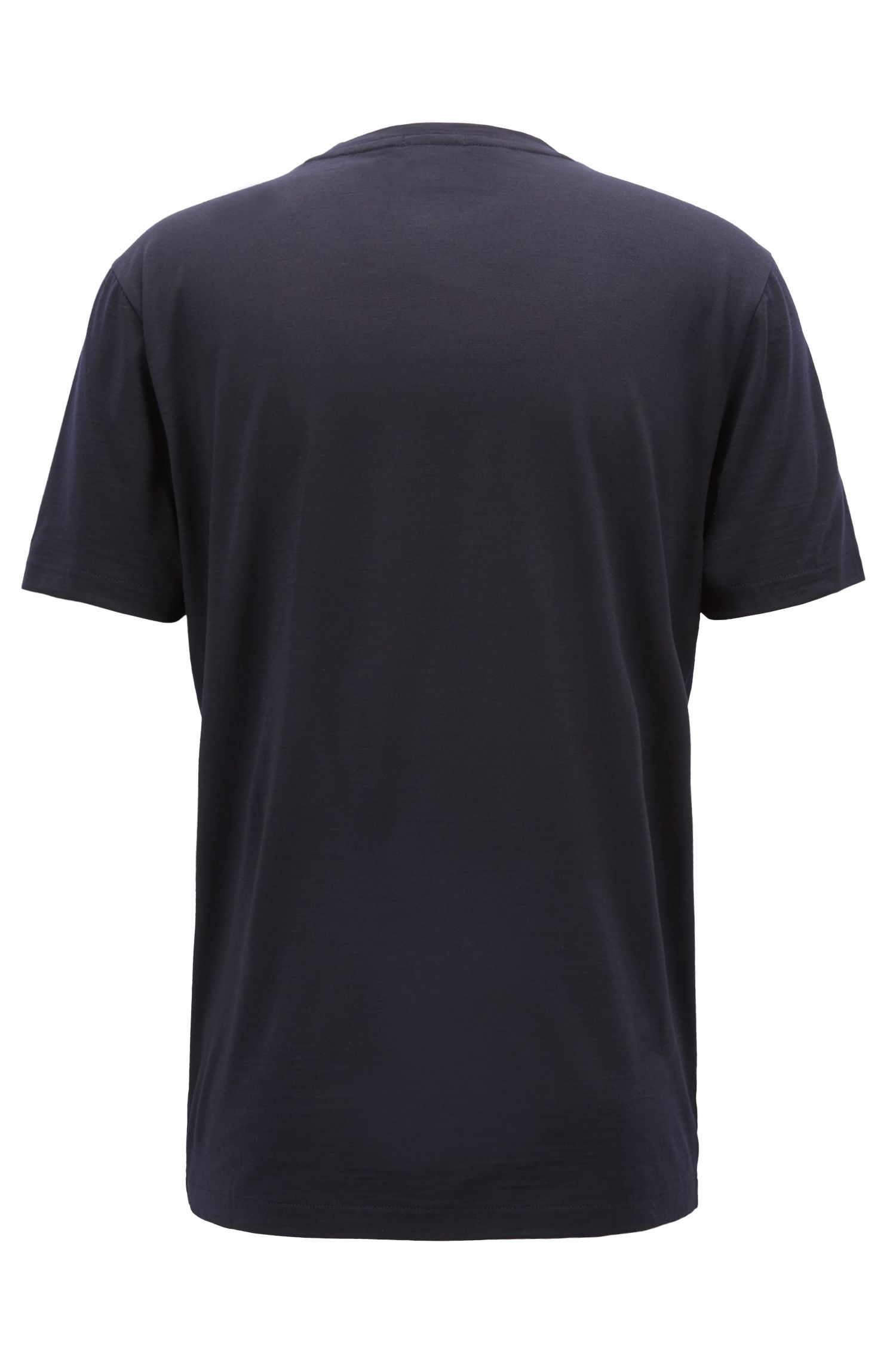T-shirt de la collection Travel Line en laine vierge italienne, Bleu