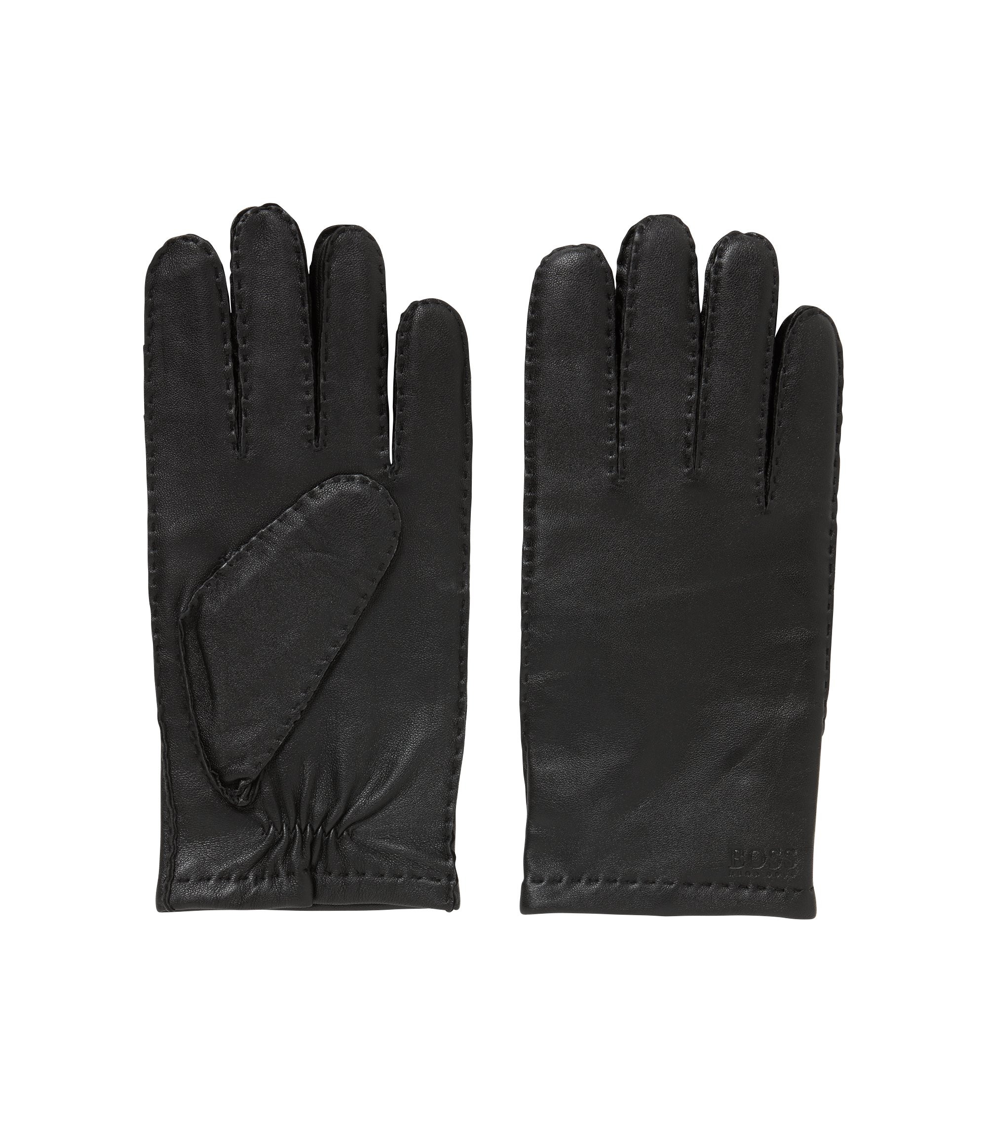 Lambskin-nappa gloves with matt finish, Black