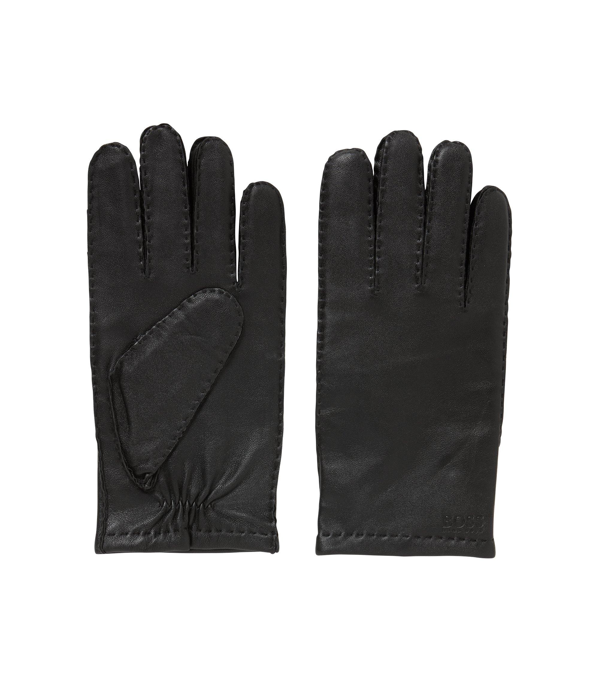 Handschoenen van lamsnappaleer met een matte afwerking, Zwart
