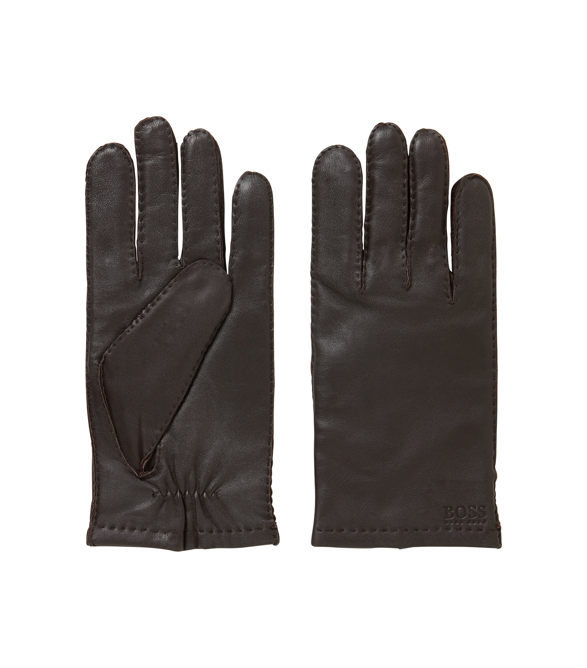 Lambskin-nappa gloves with matt finish, Dark Brown