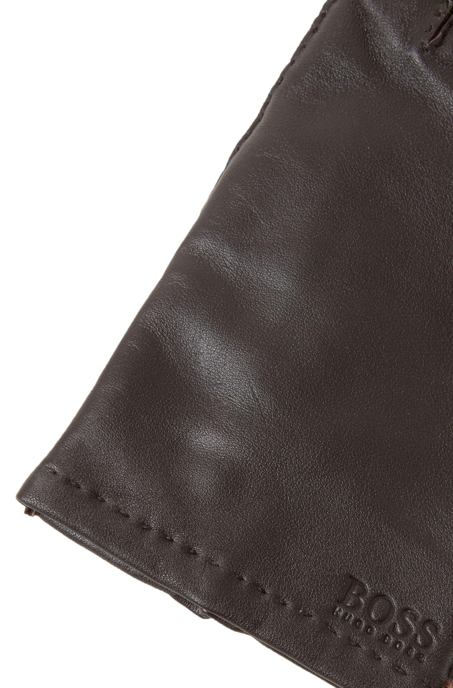 Guantes de napa de piel de cordero con acabado mate, Marrón oscuro