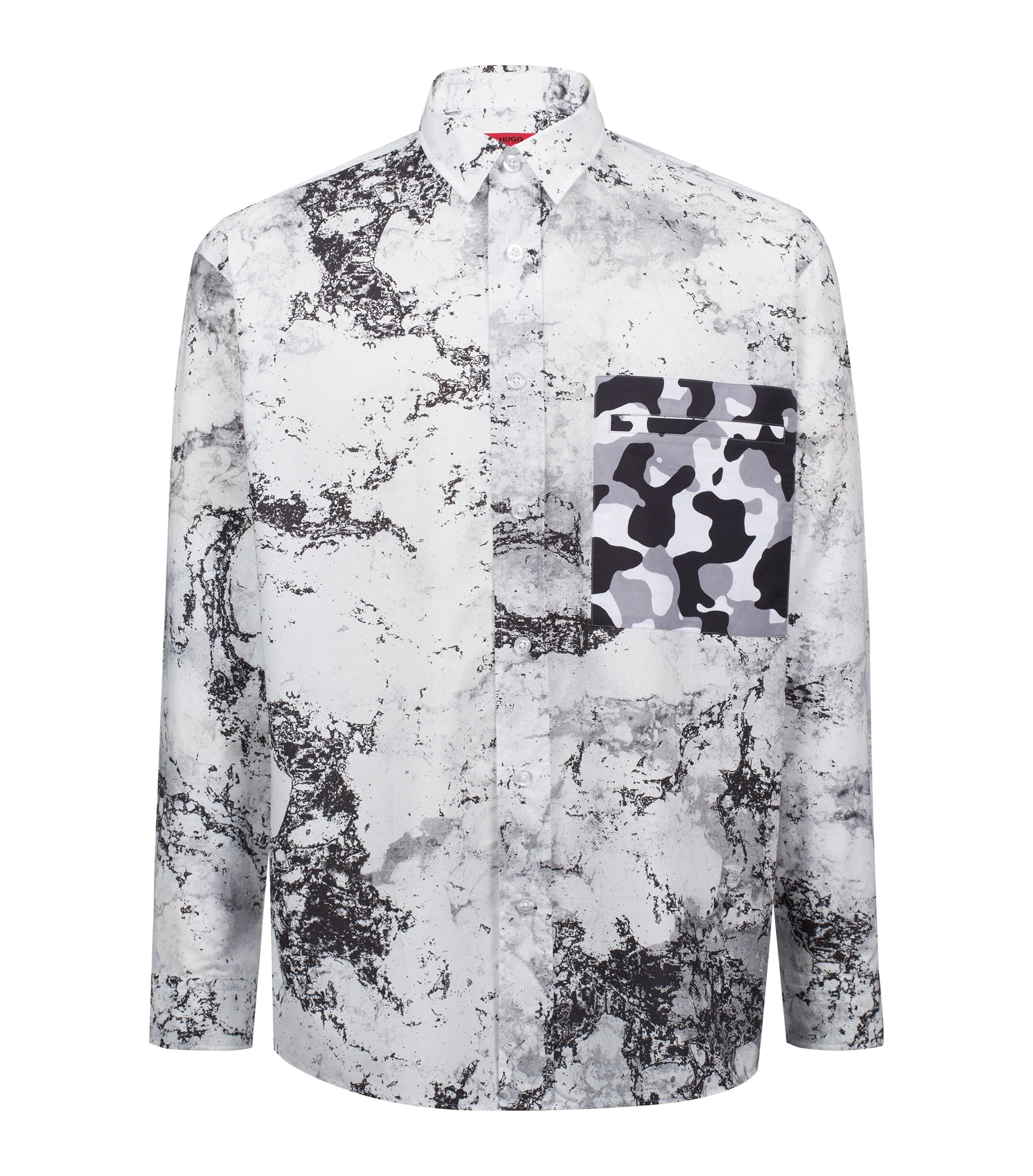 Extra-long oversize-fit cotton shirt with snow-camouflage print, Black