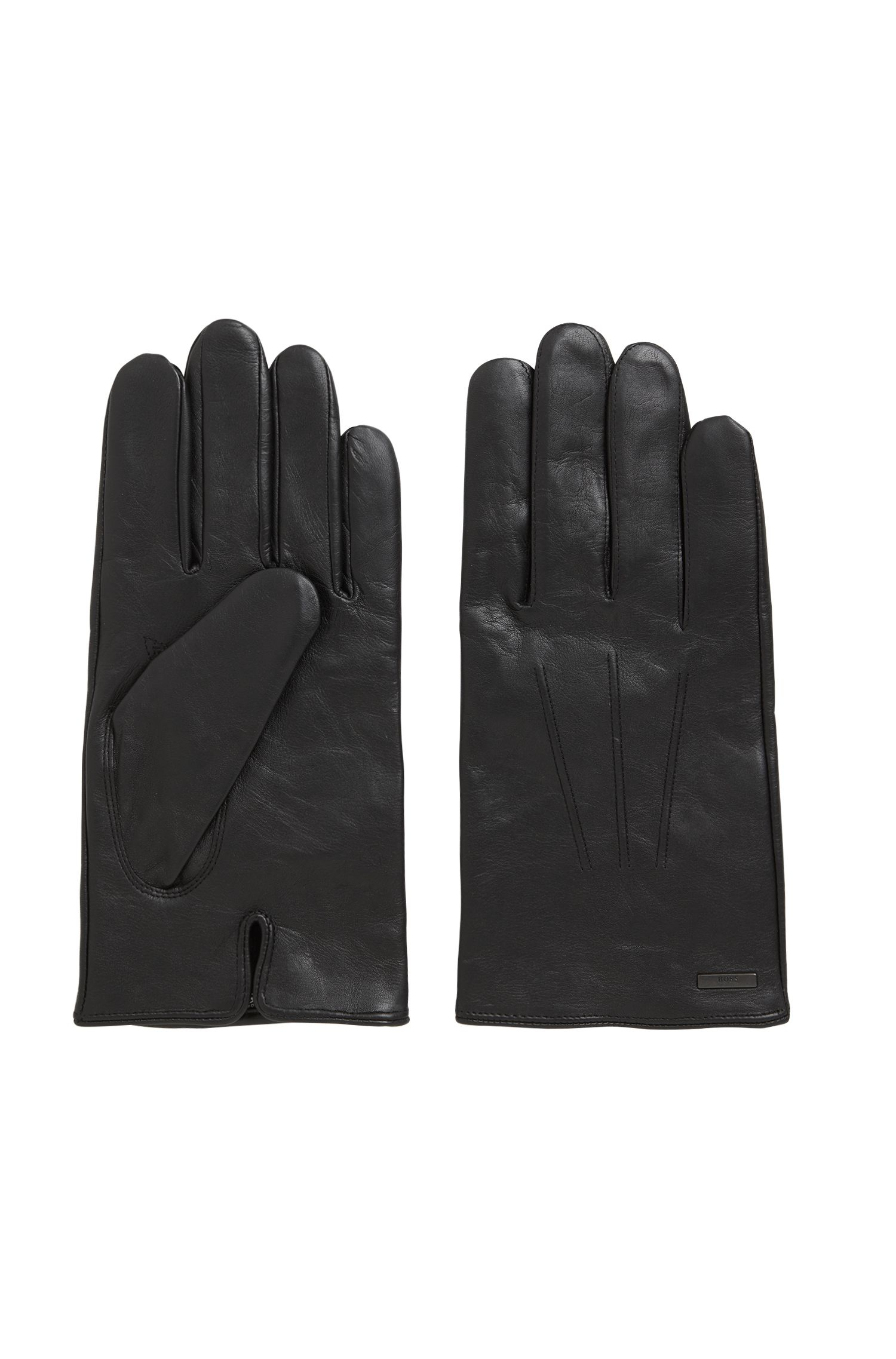 Lambskin-nappa gloves with a wool-blend lining, Black