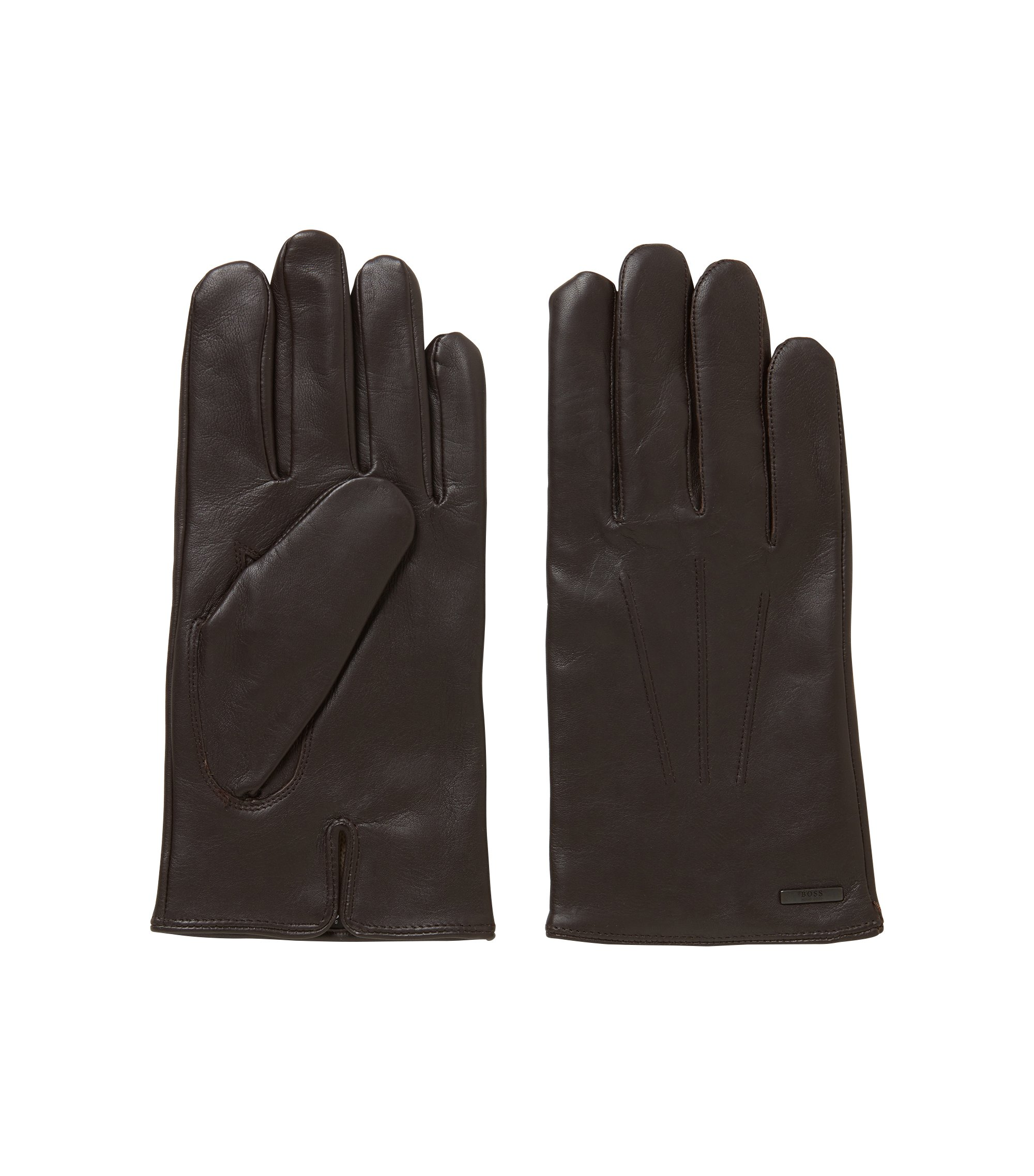 Lambskin-nappa gloves with a wool-blend lining, Dark Brown