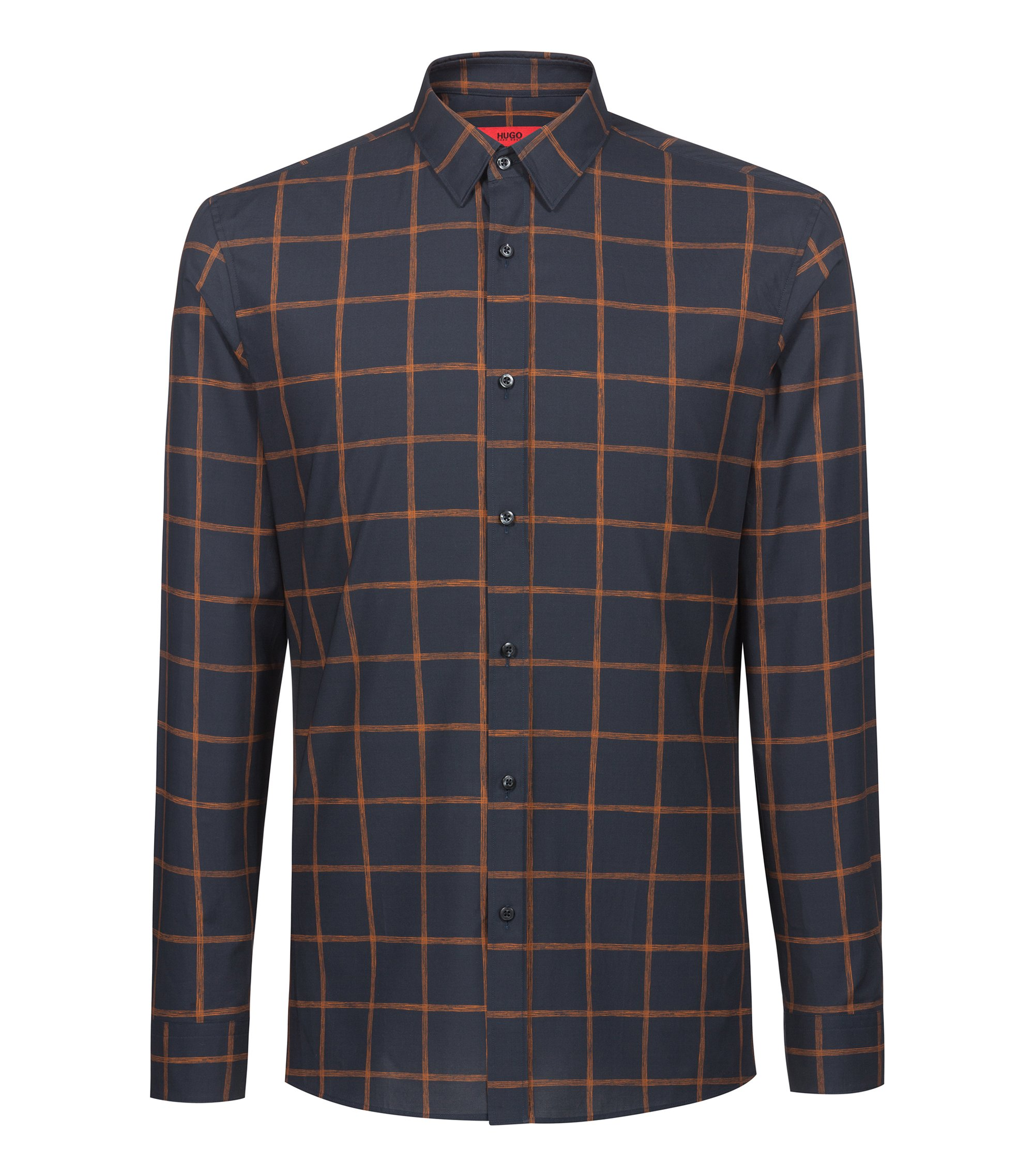 Extra-slim-fit cotton shirt with check print, Dark Blue