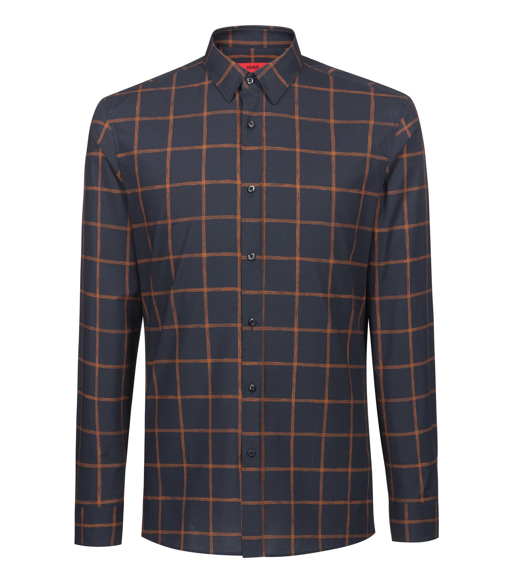 Chemise Extra Slim Fit en coton à motif à carreaux, Bleu foncé