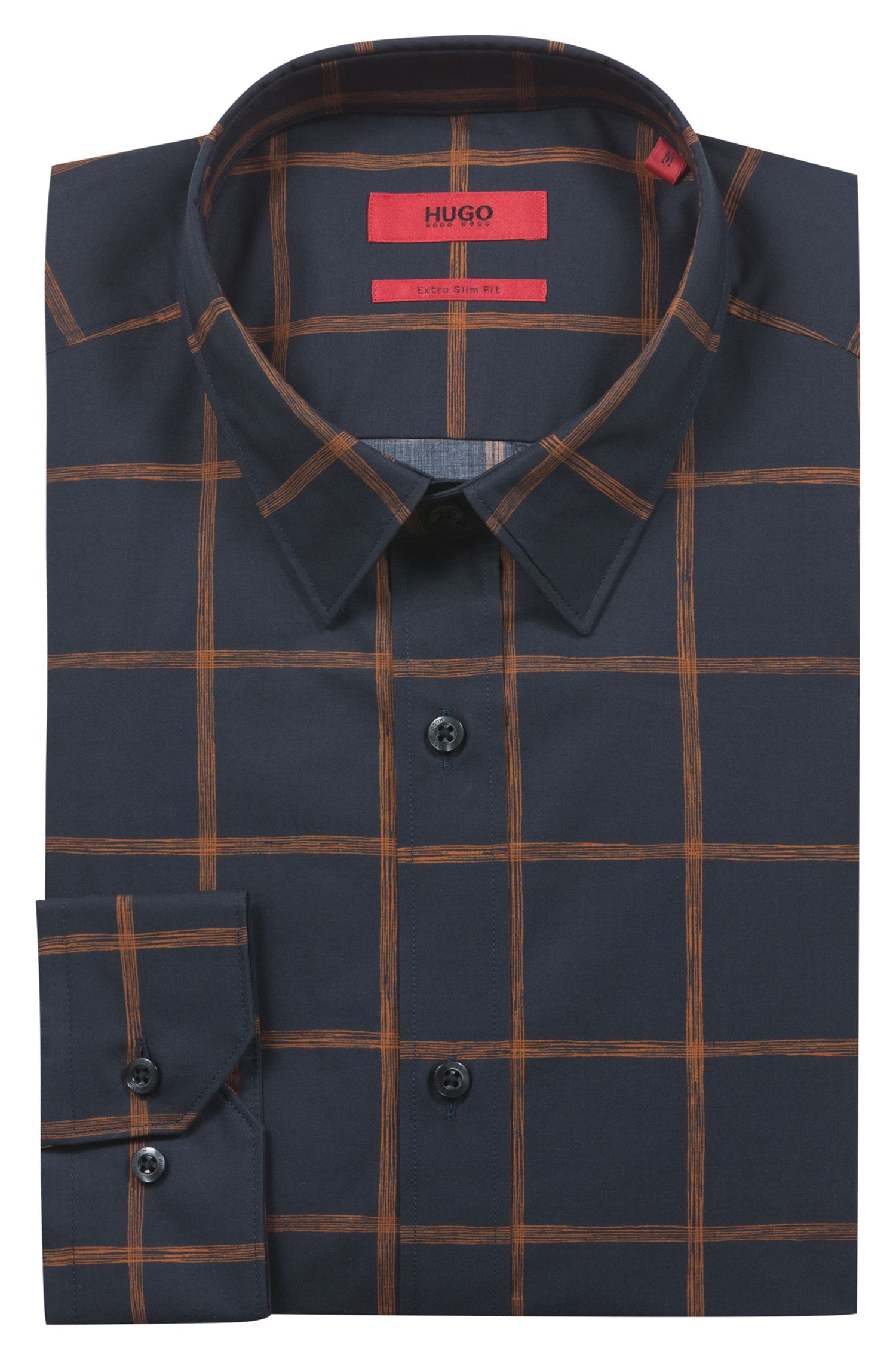 Extra-slim-fit cotton shirt with check print