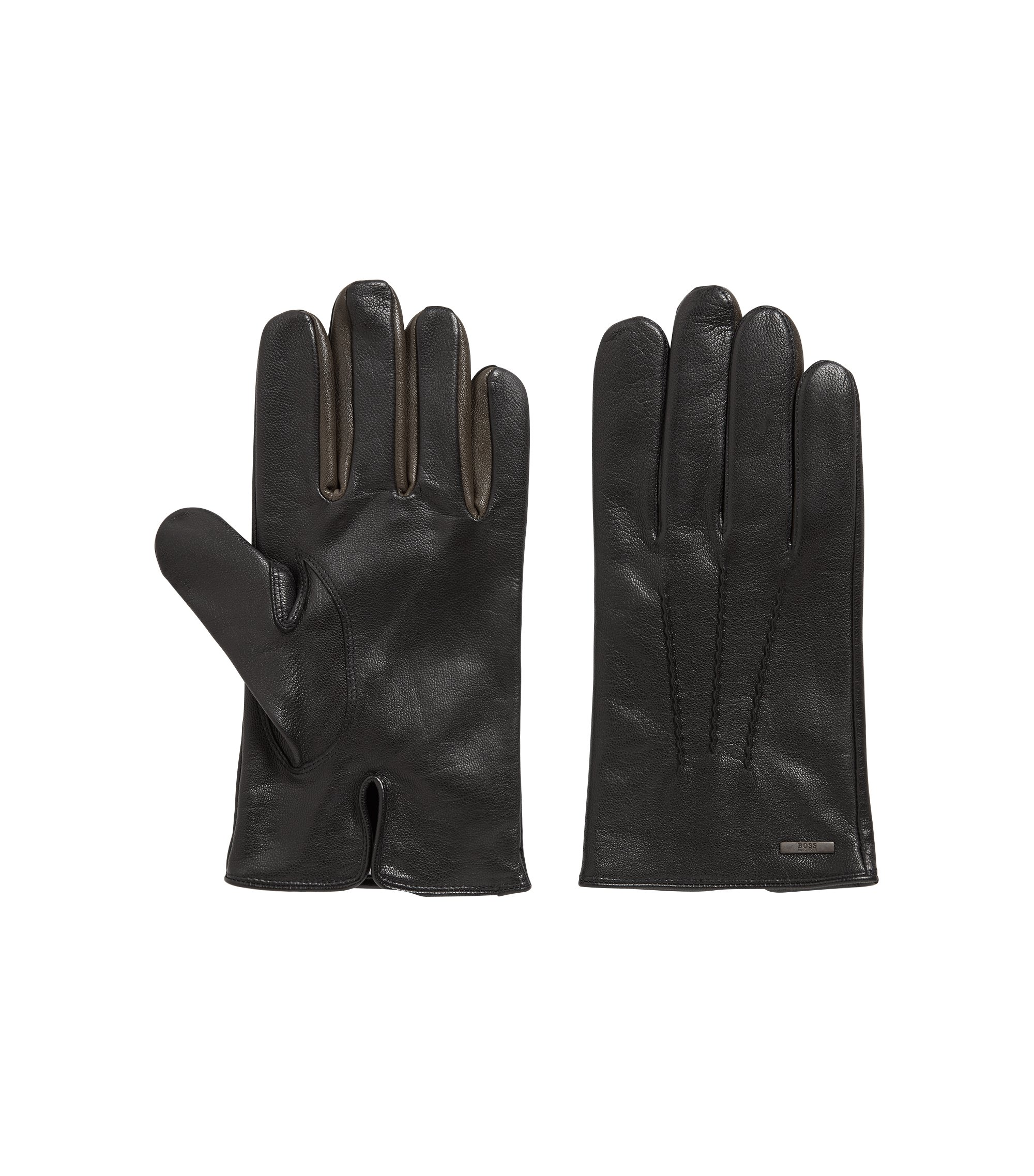Nappa-leather gloves with colour contrast, Black