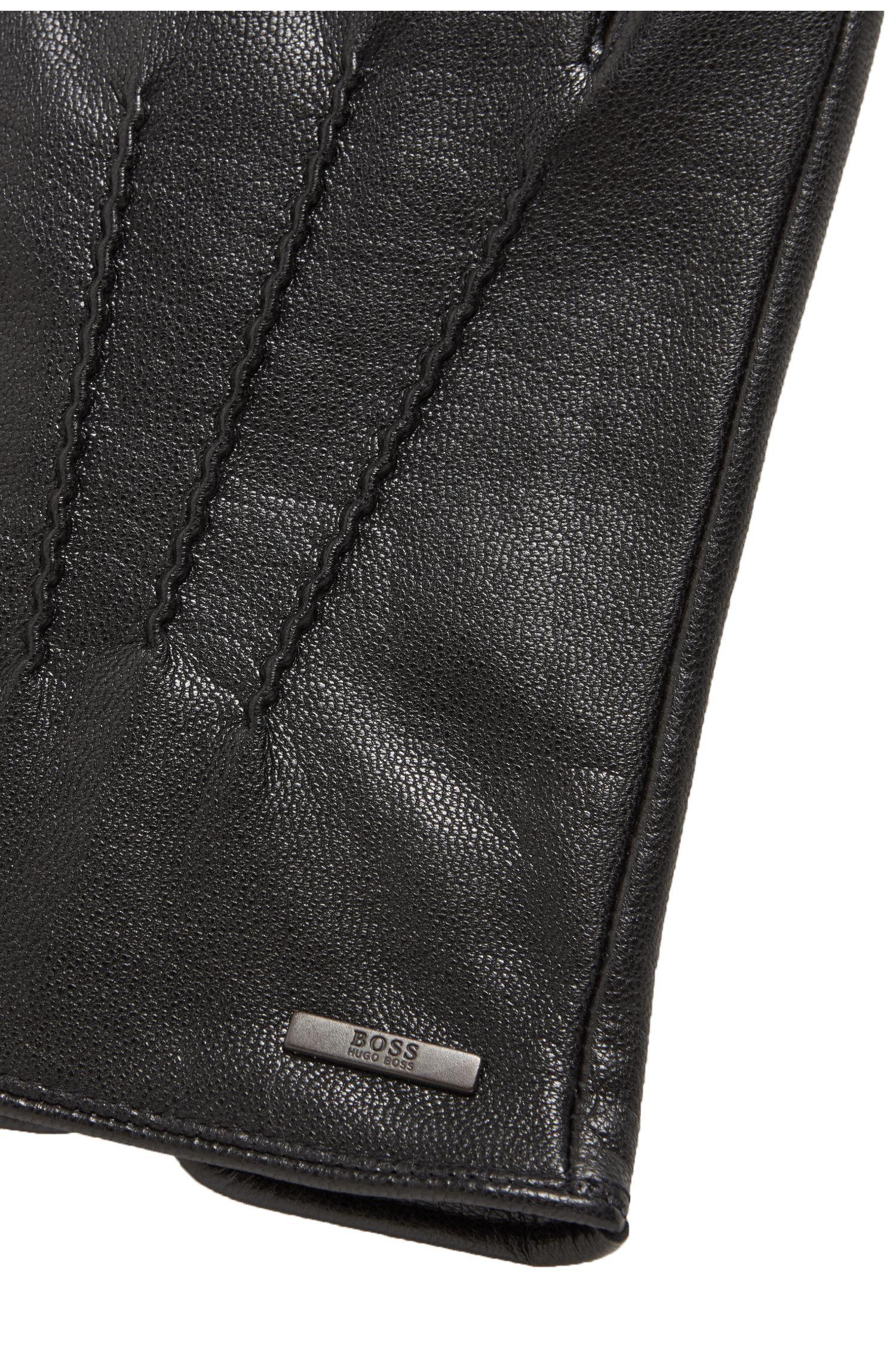 Handschuhe aus Nappaleder mit Kontrast-Details, Schwarz