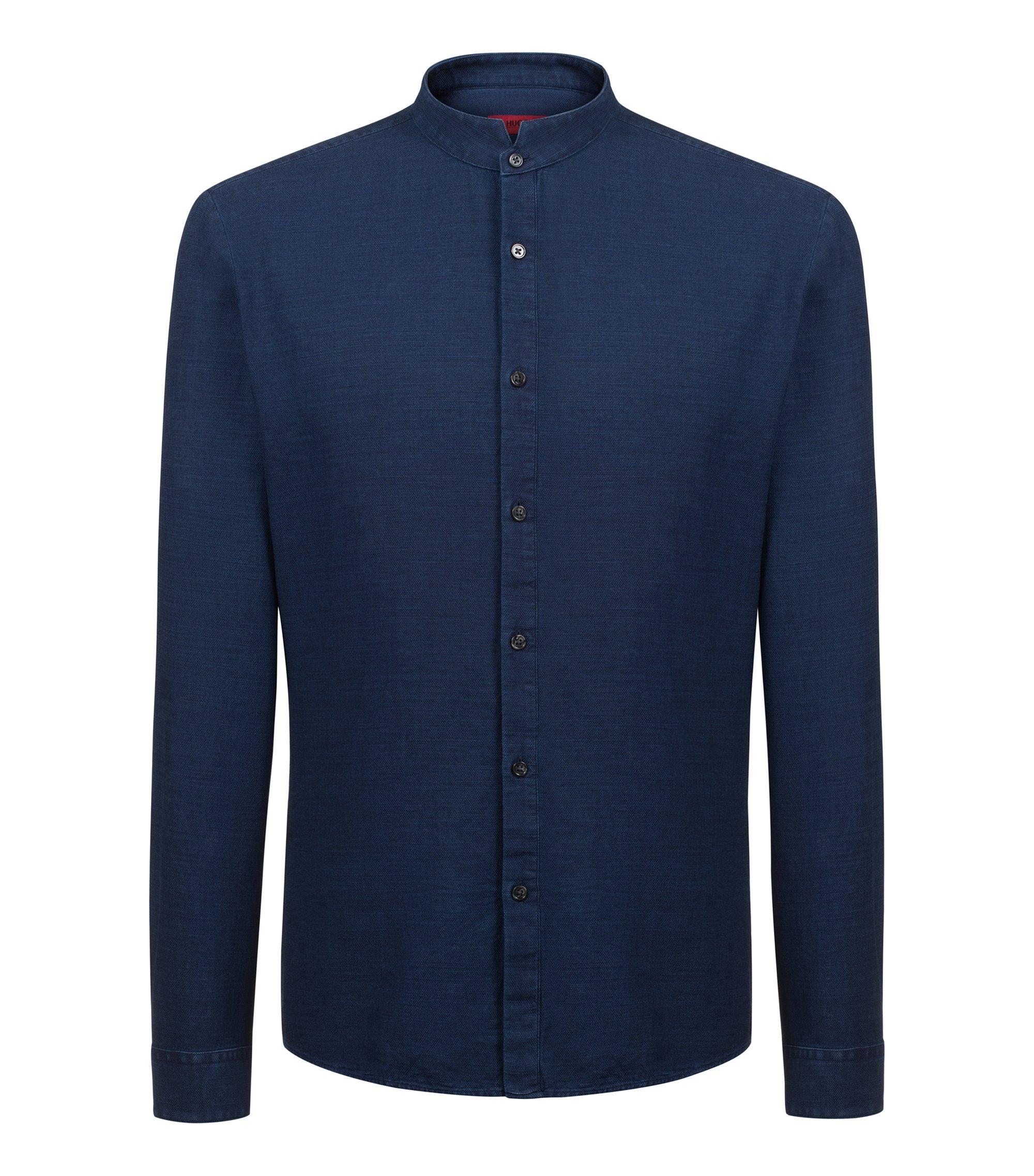 Chemise Extra Slim Fit à col montant en coton indigo, Bleu foncé