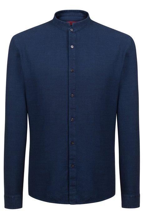 Extra-slim-fit indigo cotton shirt with stand collar, Dark Blue bc3d8f4820f