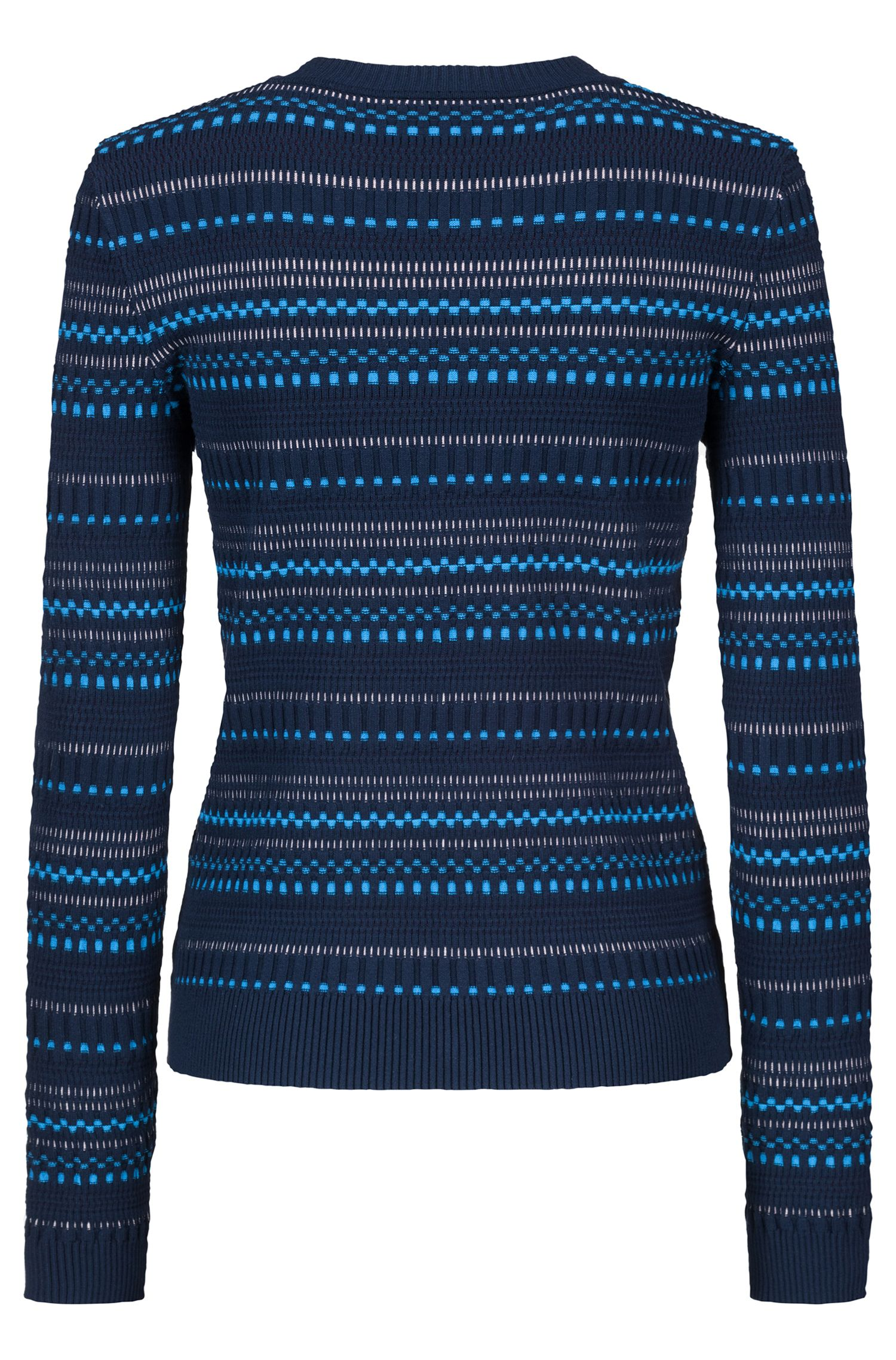Crew-neck sweater in three-colour super-stretch jacquard, Patterned