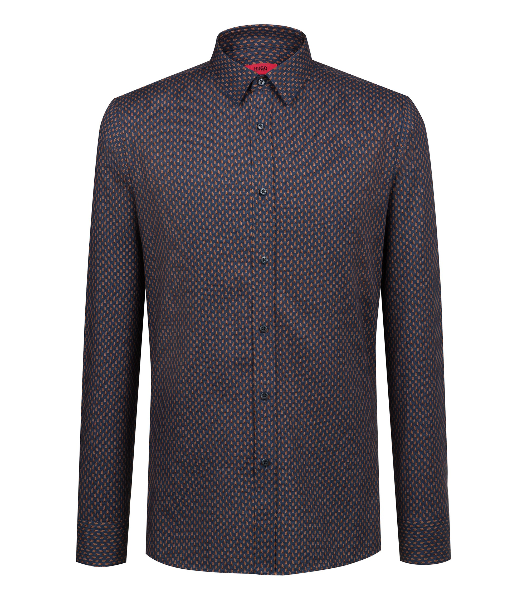 Extra-slim-fit cotton shirt with all-over print, Brown