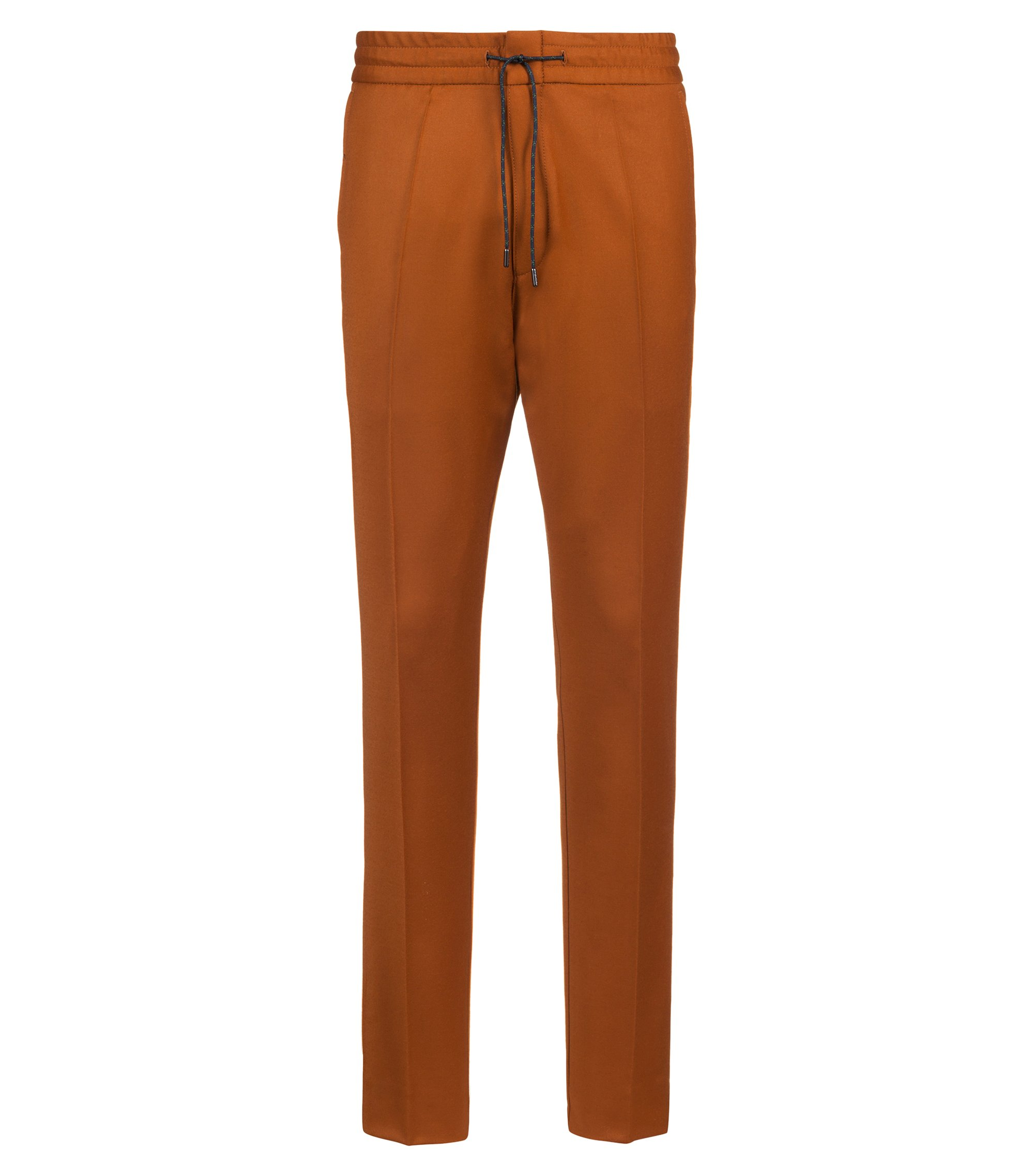 Tapered-fit stretch-virgin-wool trousers with elasticated waist, Brown