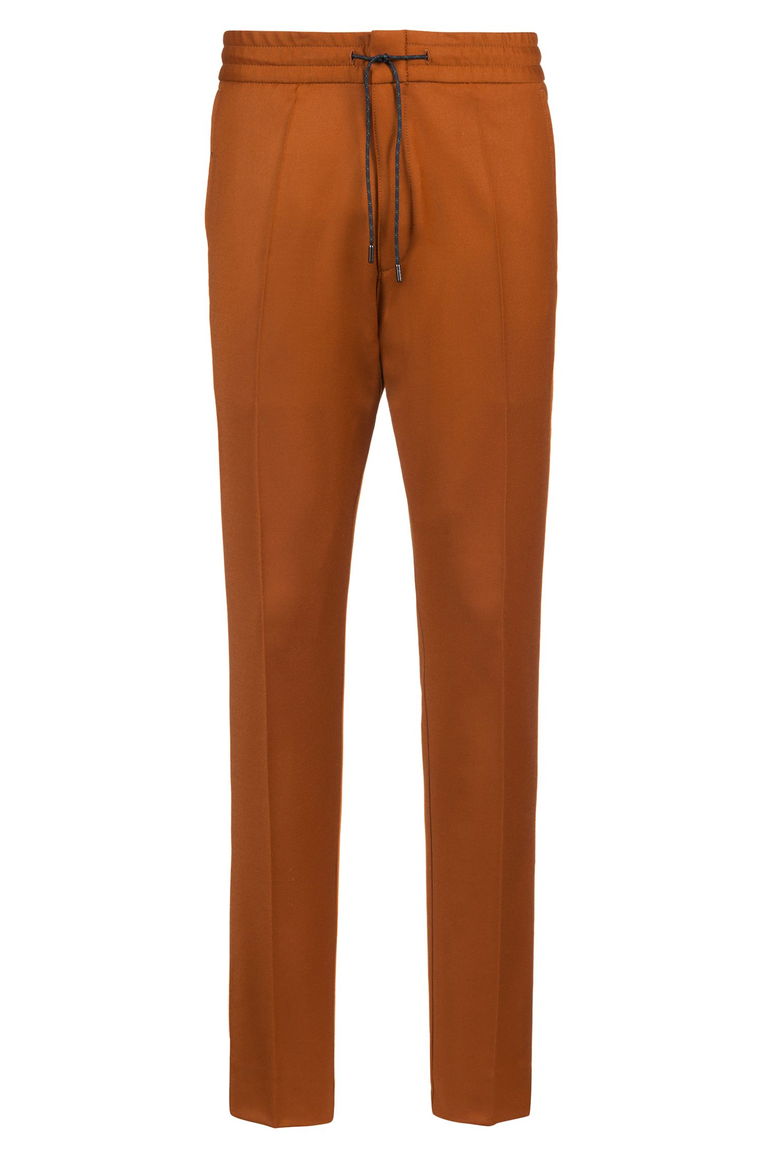Pantaloni tapered fit in lana vergine elasticizzata con vita elastica, Marrone