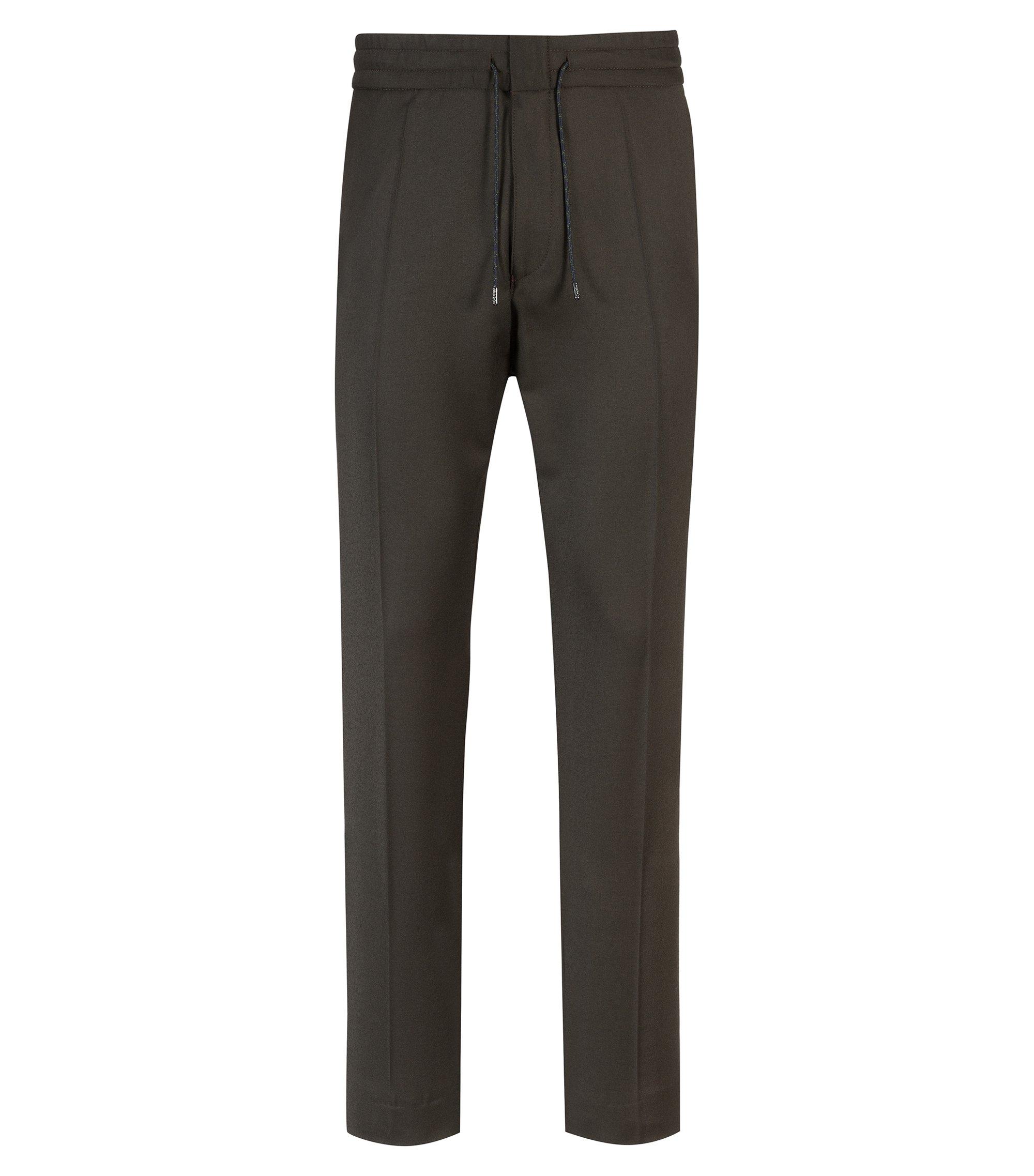 Tapered-Fit Hose aus Stretch-Schurwolle mit elastischem Bund, Dunkelgrün
