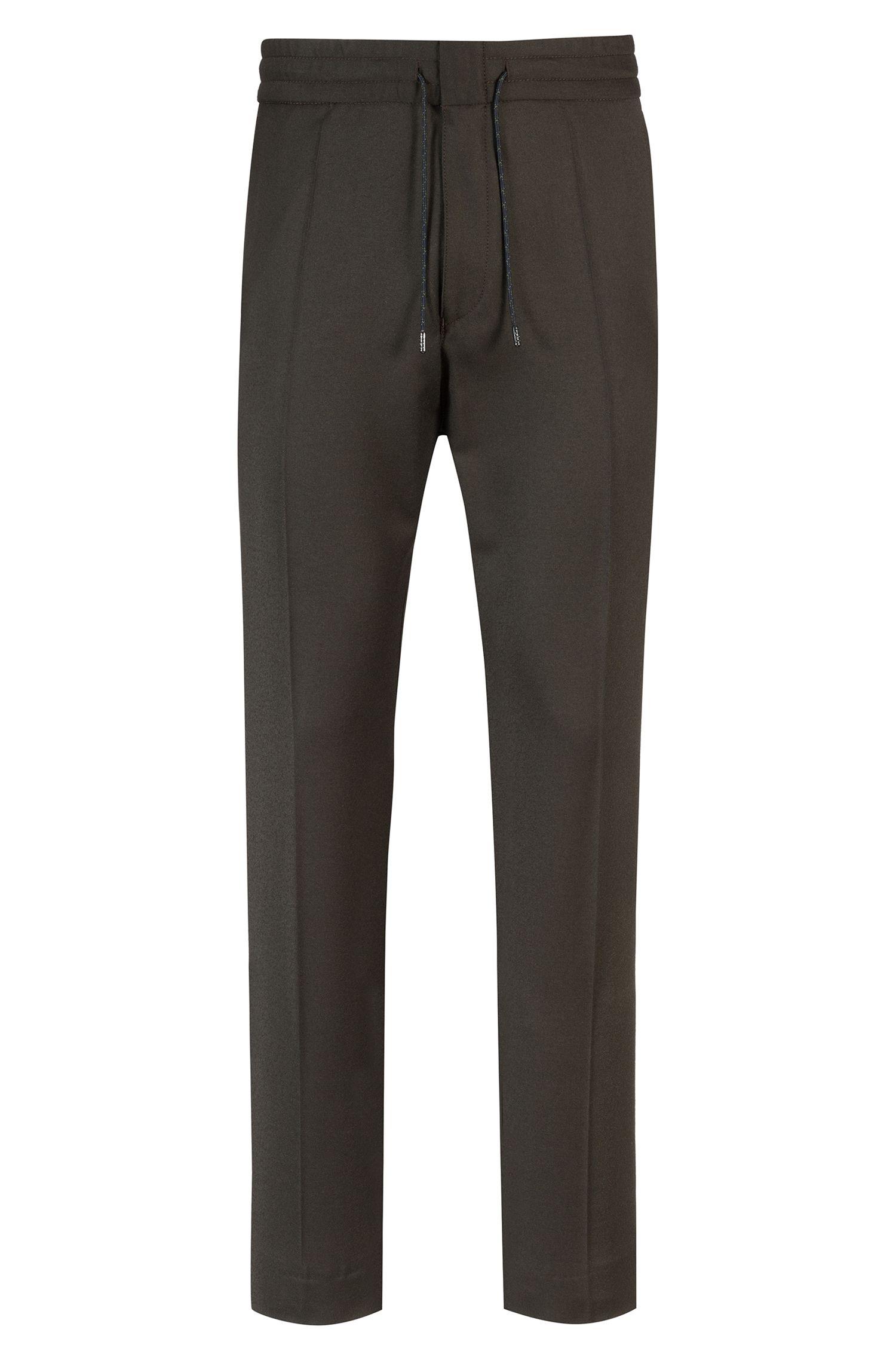 Tapered-fit broek met elastische taille, van scheerwol met stretch, Donkergroen
