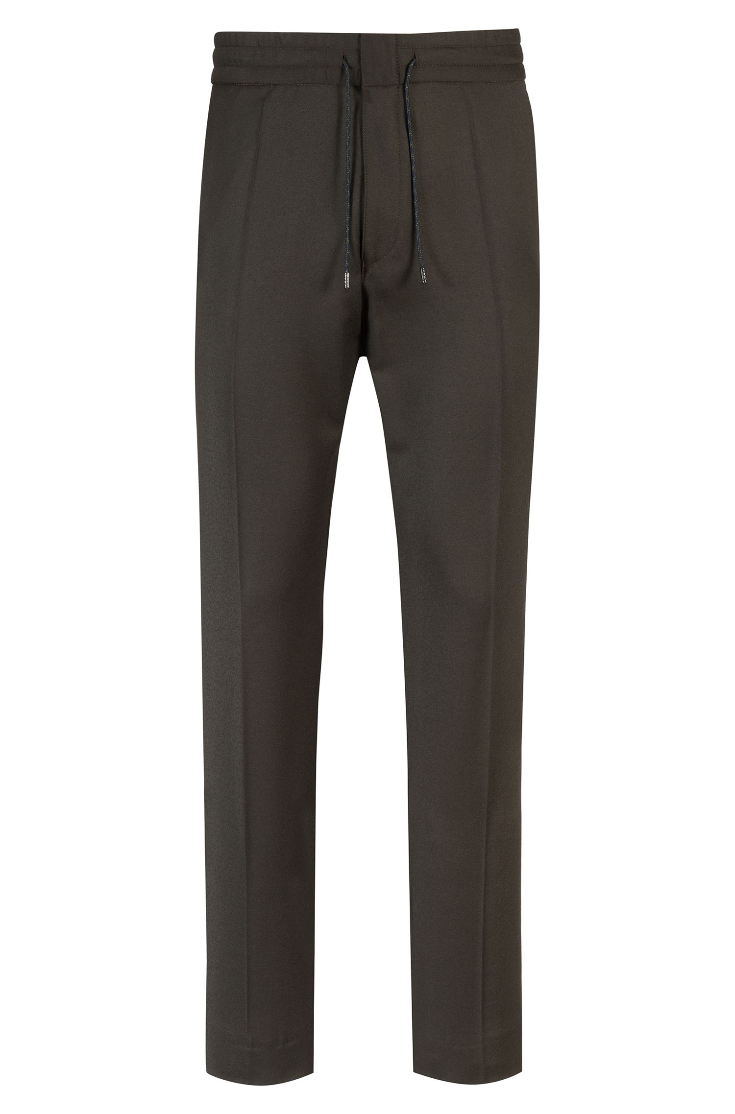Tapered-fit stretch-virgin-wool trousers with elasticated waist, Dark Green