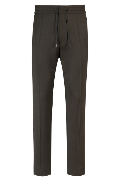 Tapered-fit stretch-virgin-wool trousers with elasticated waist, Dark Green 022b626c5ec