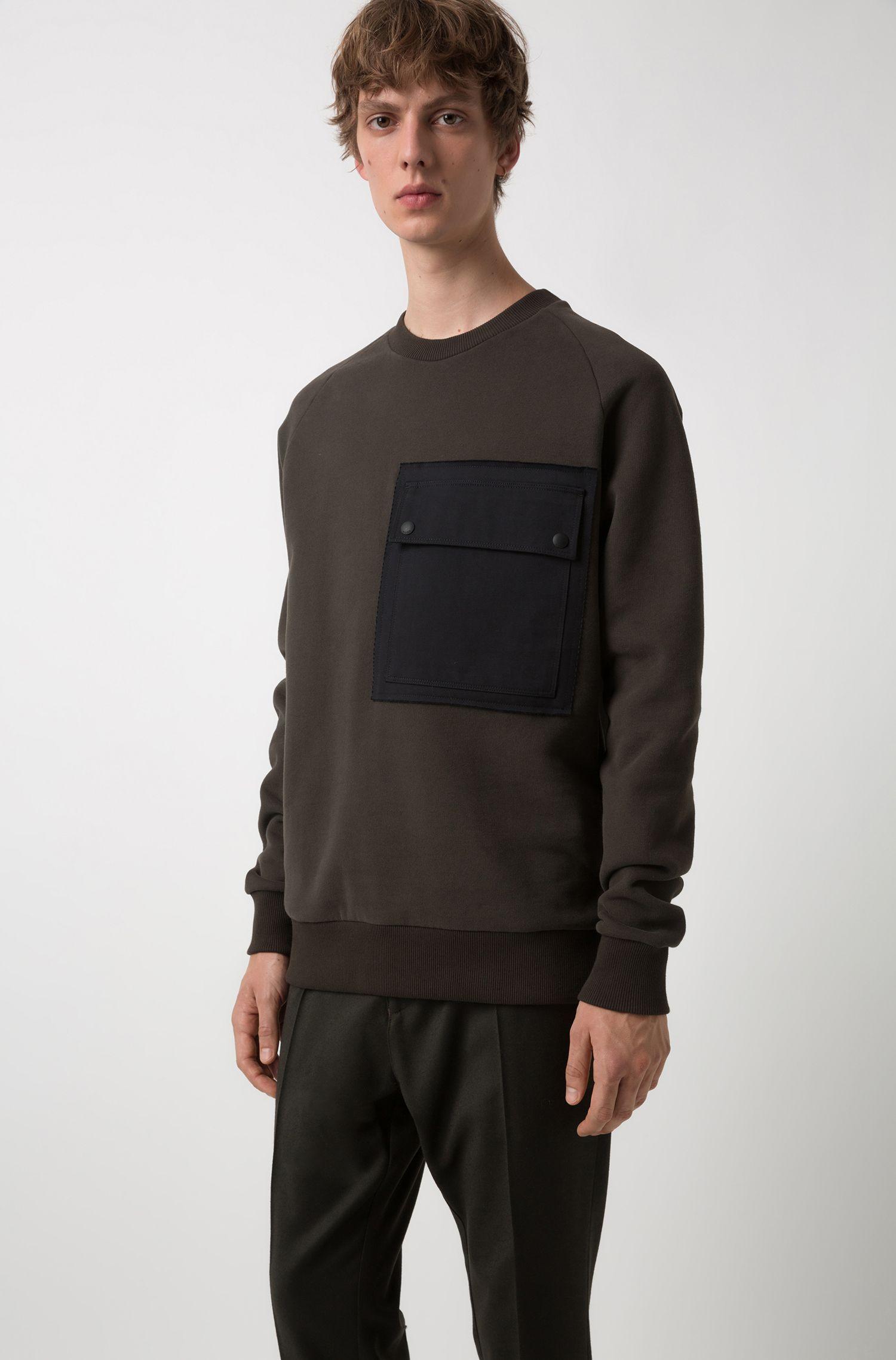 Pantalon Tapered Fit en laine vierge stretch, avec taille élastique, Vert sombre