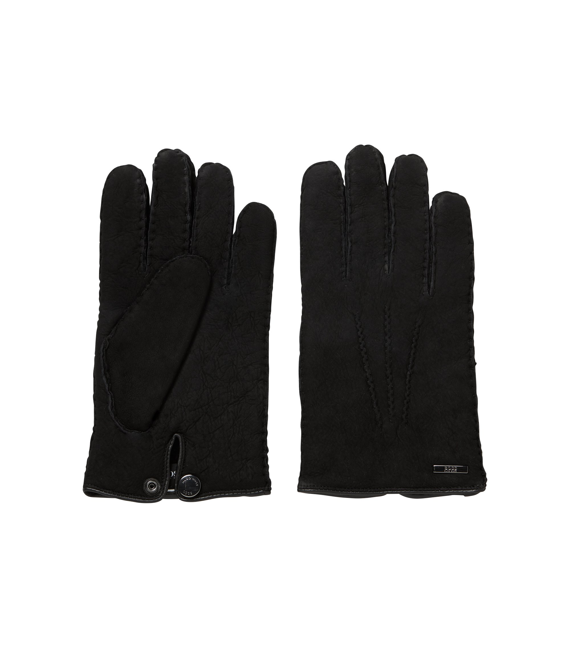 Lambskin gloves with shearling lining, Black
