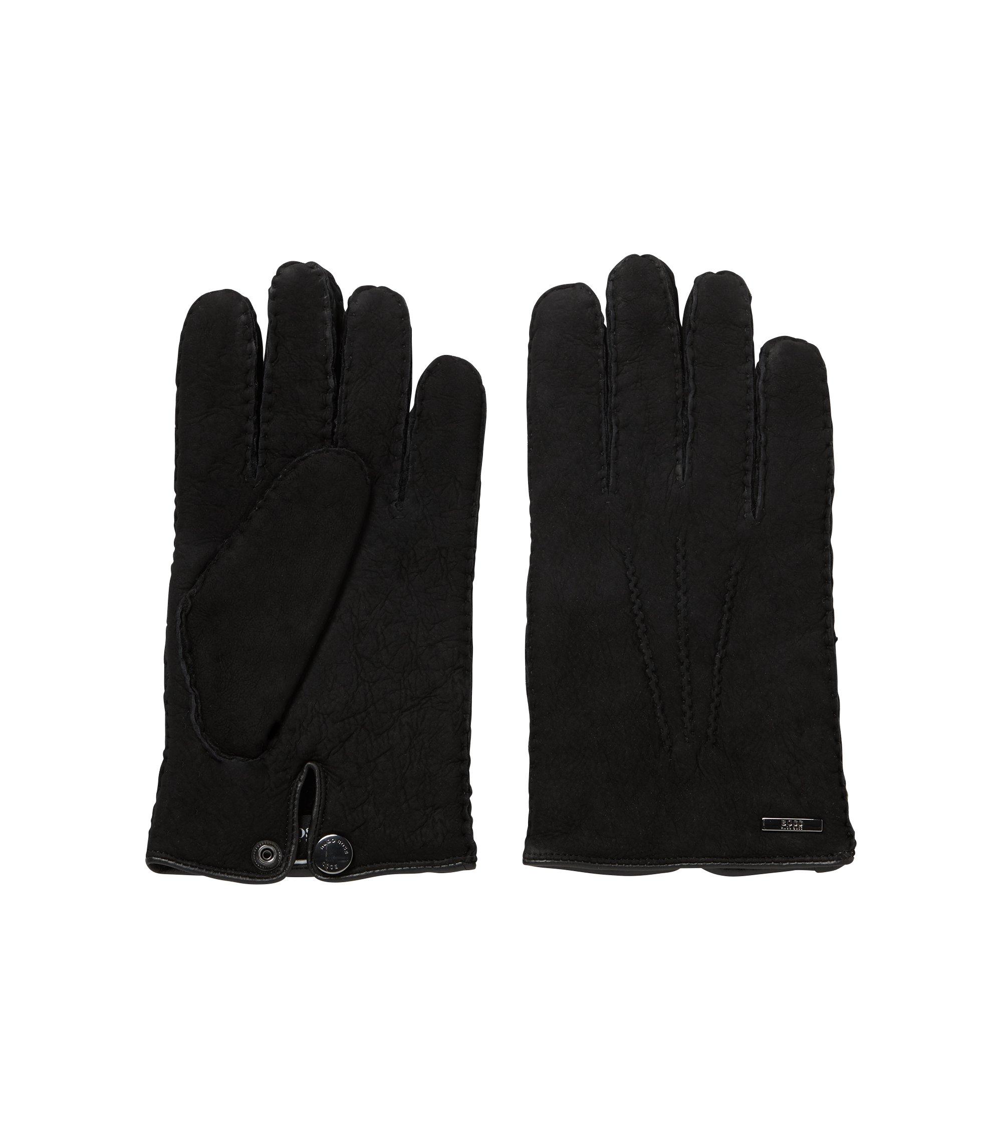 Gants en cuir d'agneau avec doublure en peau lainée, Noir