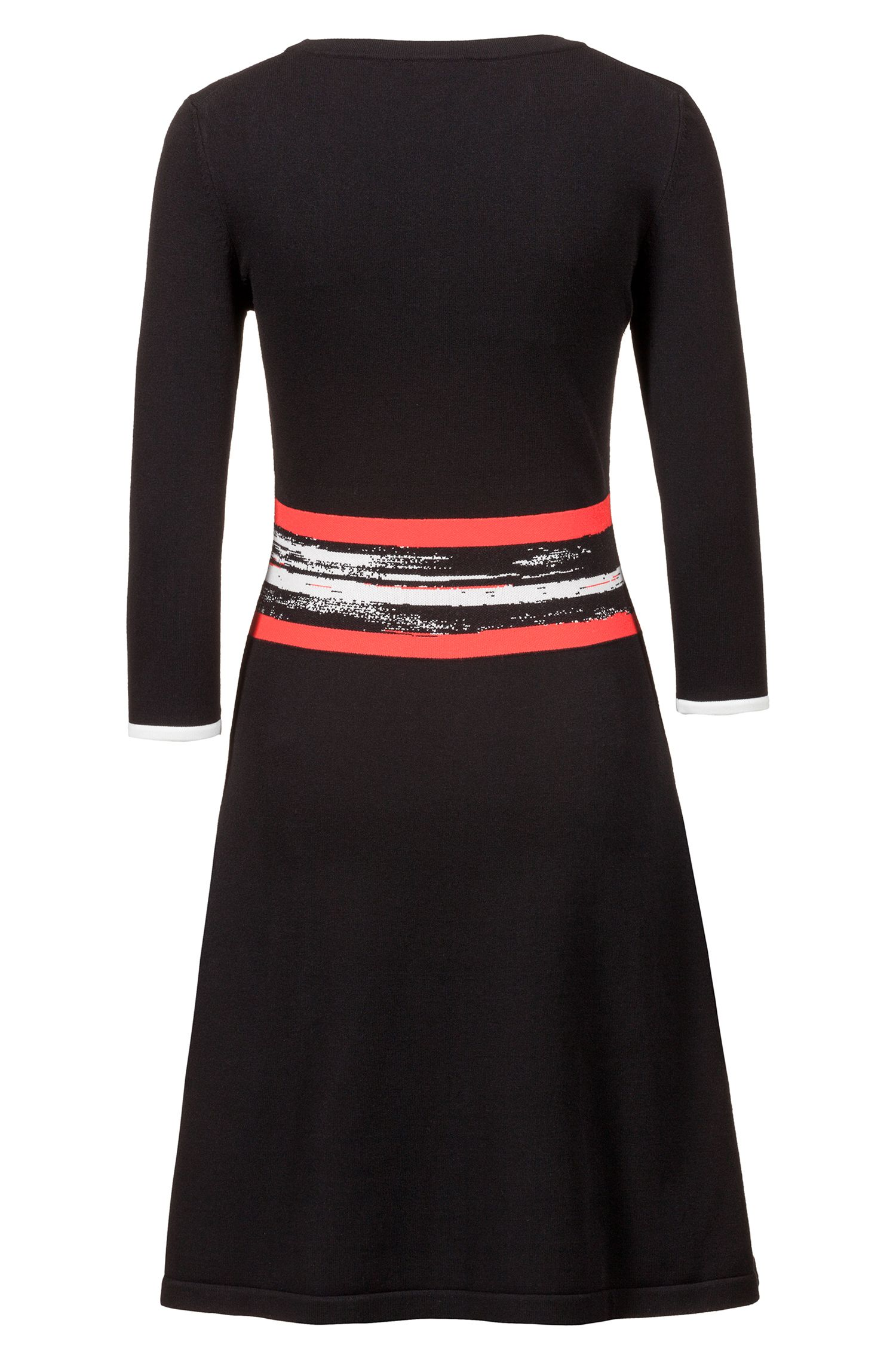 Fit-and-flare knitted dress with graphic-stripe waistband, Patterned