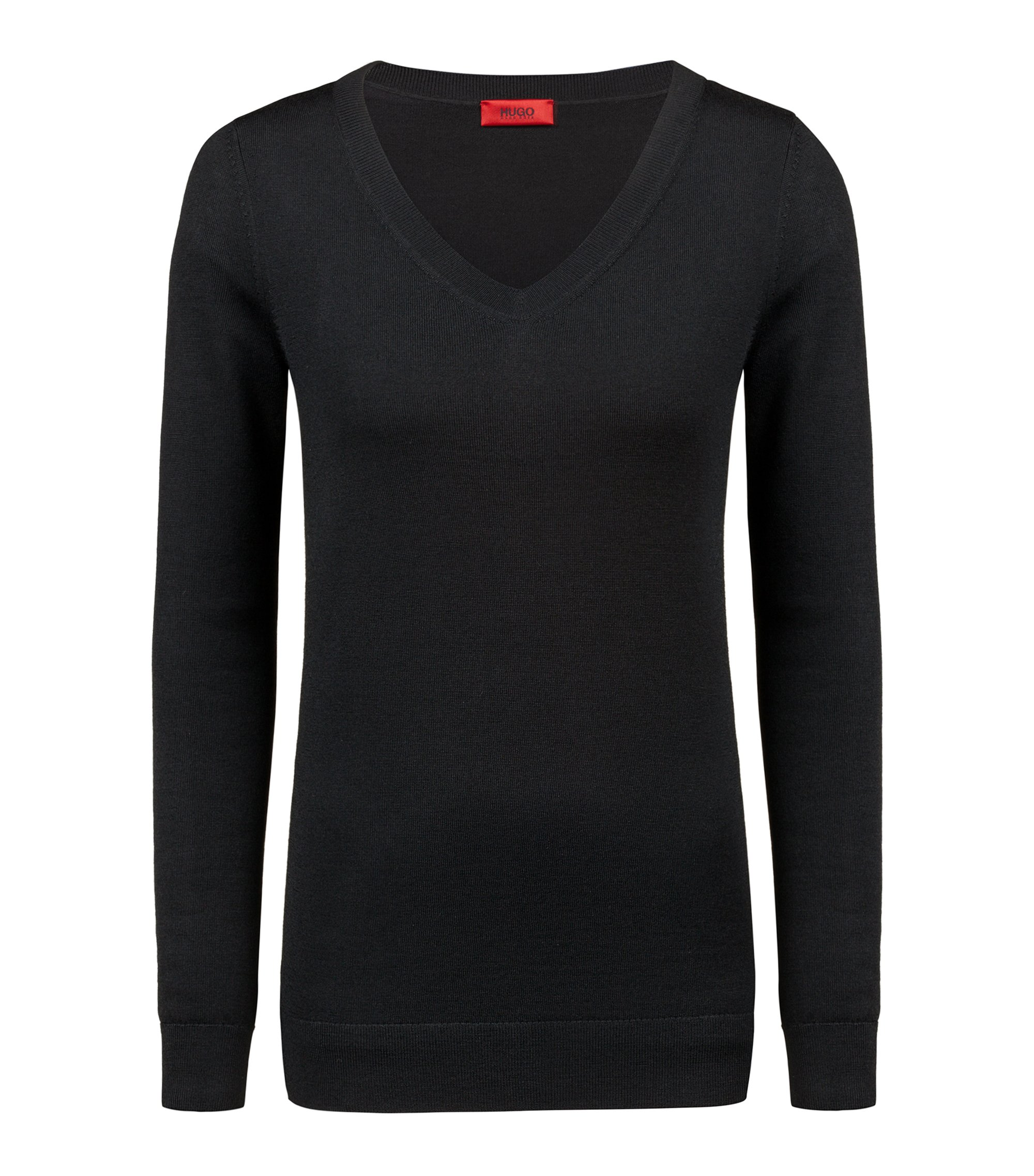 V-neck sweater in extra-fine merino wool, Black