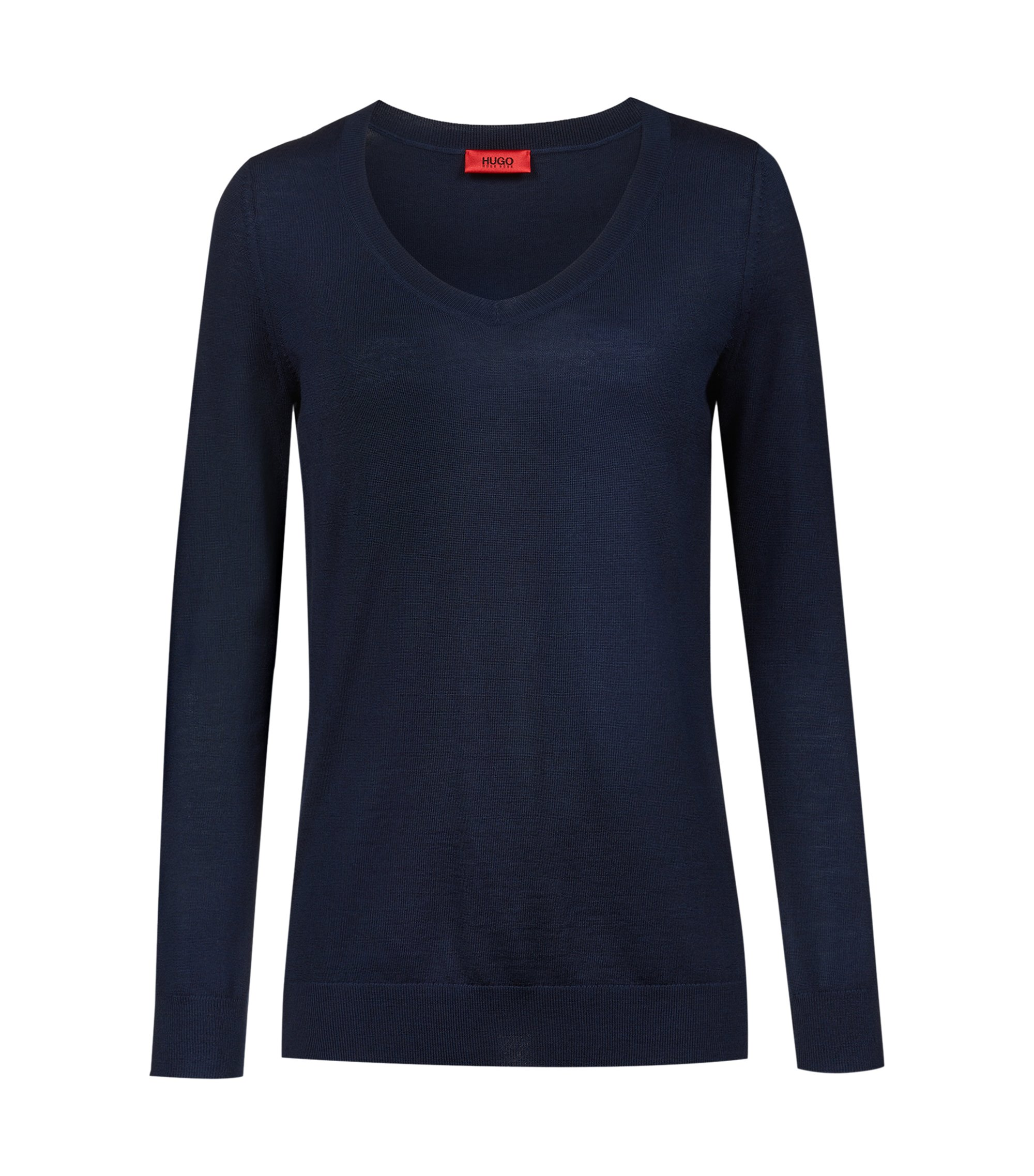 V-neck sweater in extra-fine merino wool, Dark Blue