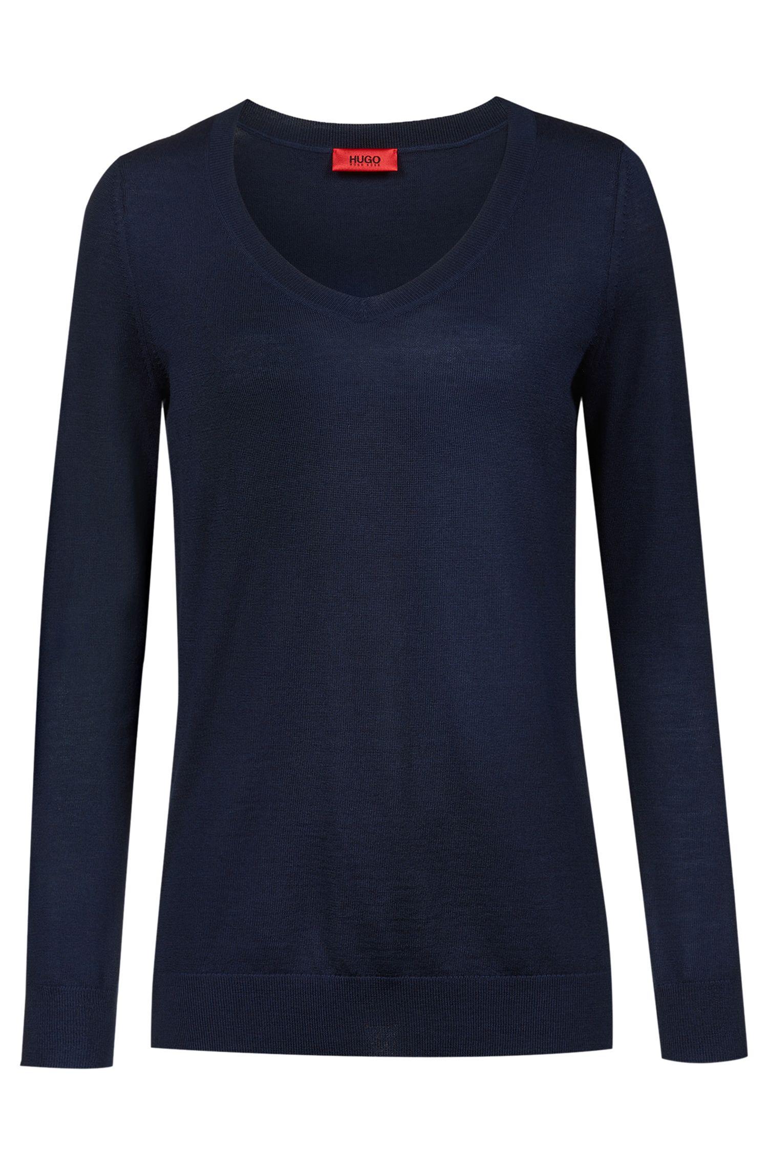 Maglione con scollo a V in pregiata lana merino, Blu scuro