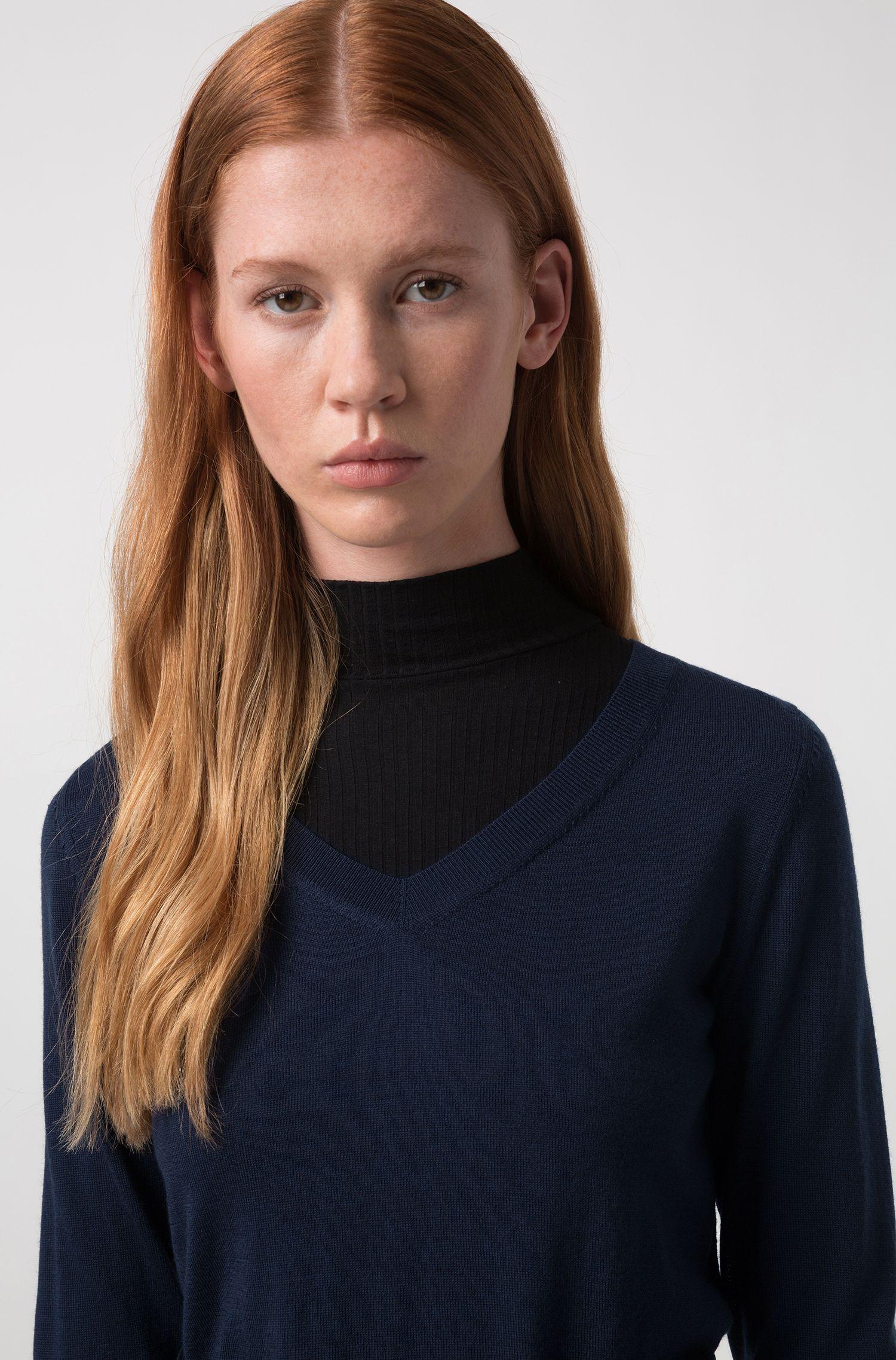 V-neck sweater in extra-fine merino wool